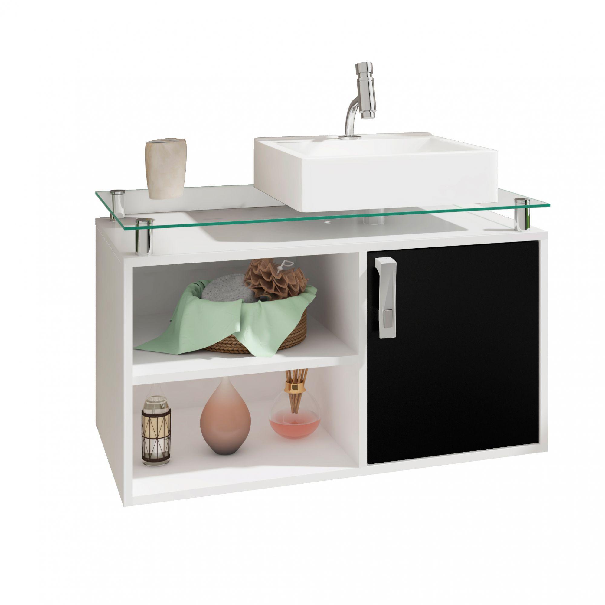 Gabinete Para Banheiro Braga 80 Cm Sobrepor MGM Branco/Preto