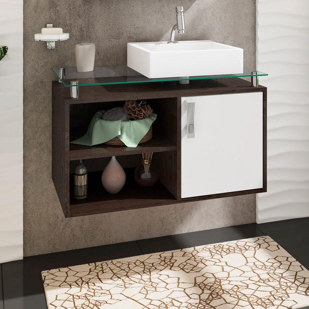 Gabinete Para Banheiro Braga 80 Cm Sobrepor MGM Café/Branco