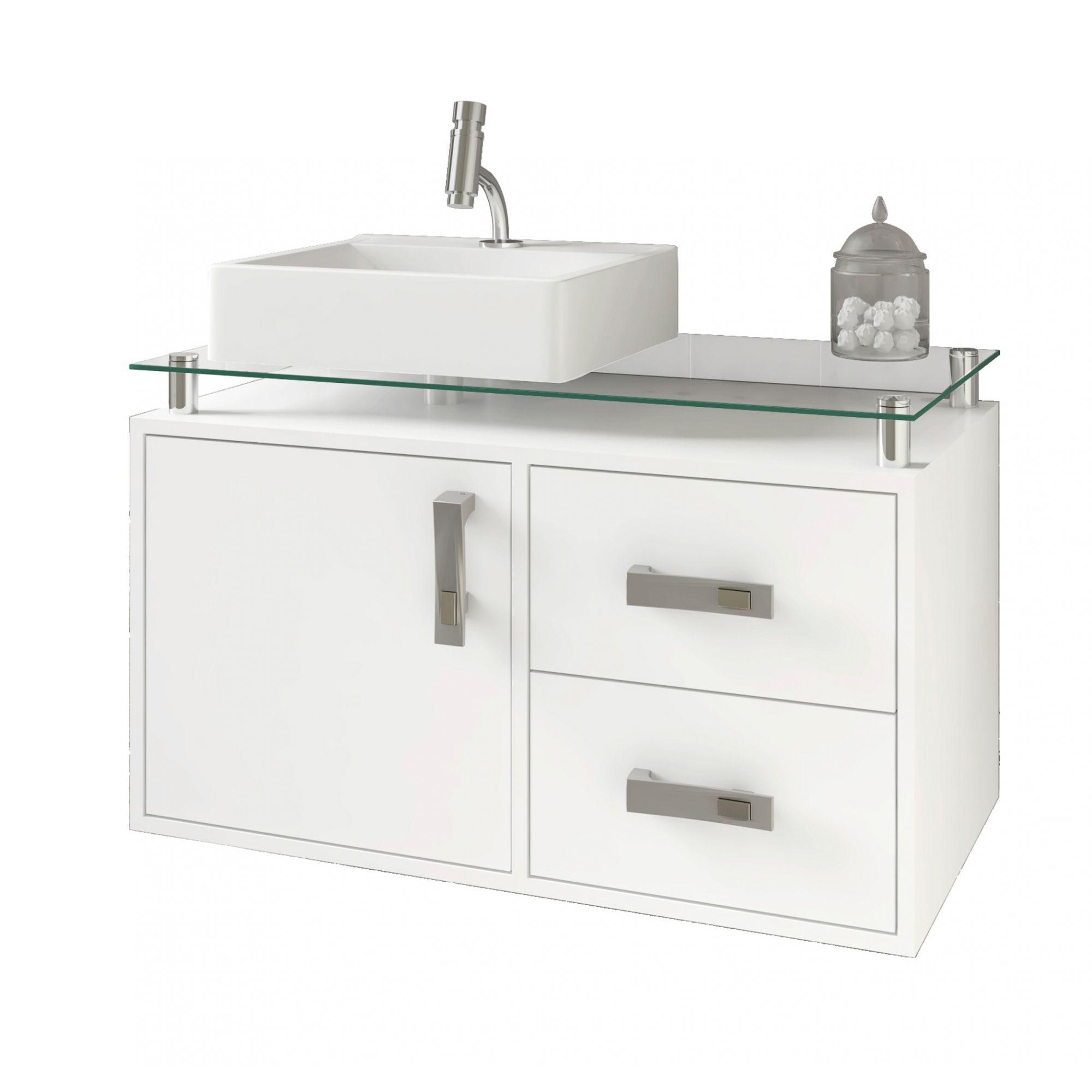 Gabinete Para Banheiro Évora 80 Cm Sobrepor MGM Móveis Branco
