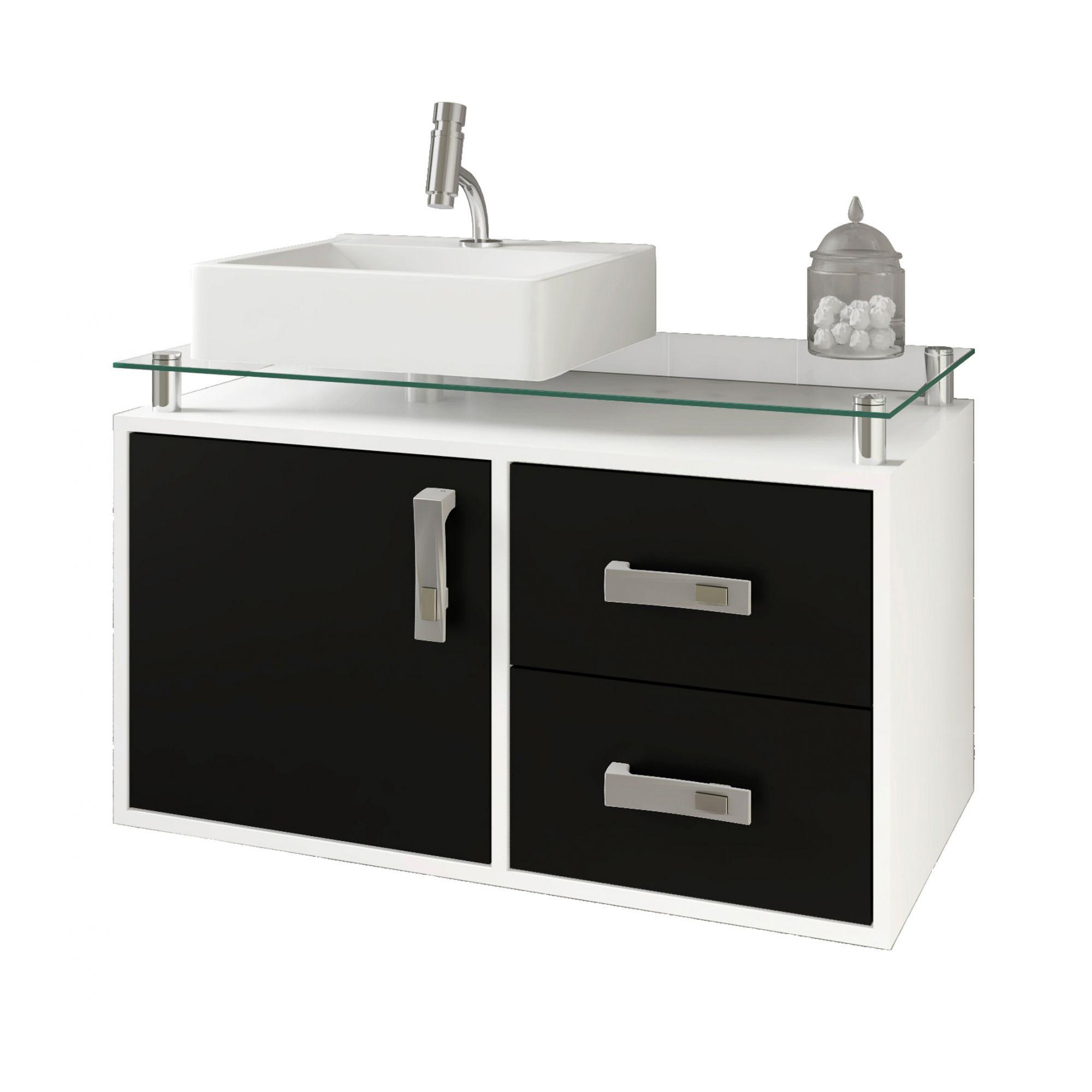 Gabinete Para Banheiro Évora 80 Cm Sobrepor MGM Móveis Branco/Preto