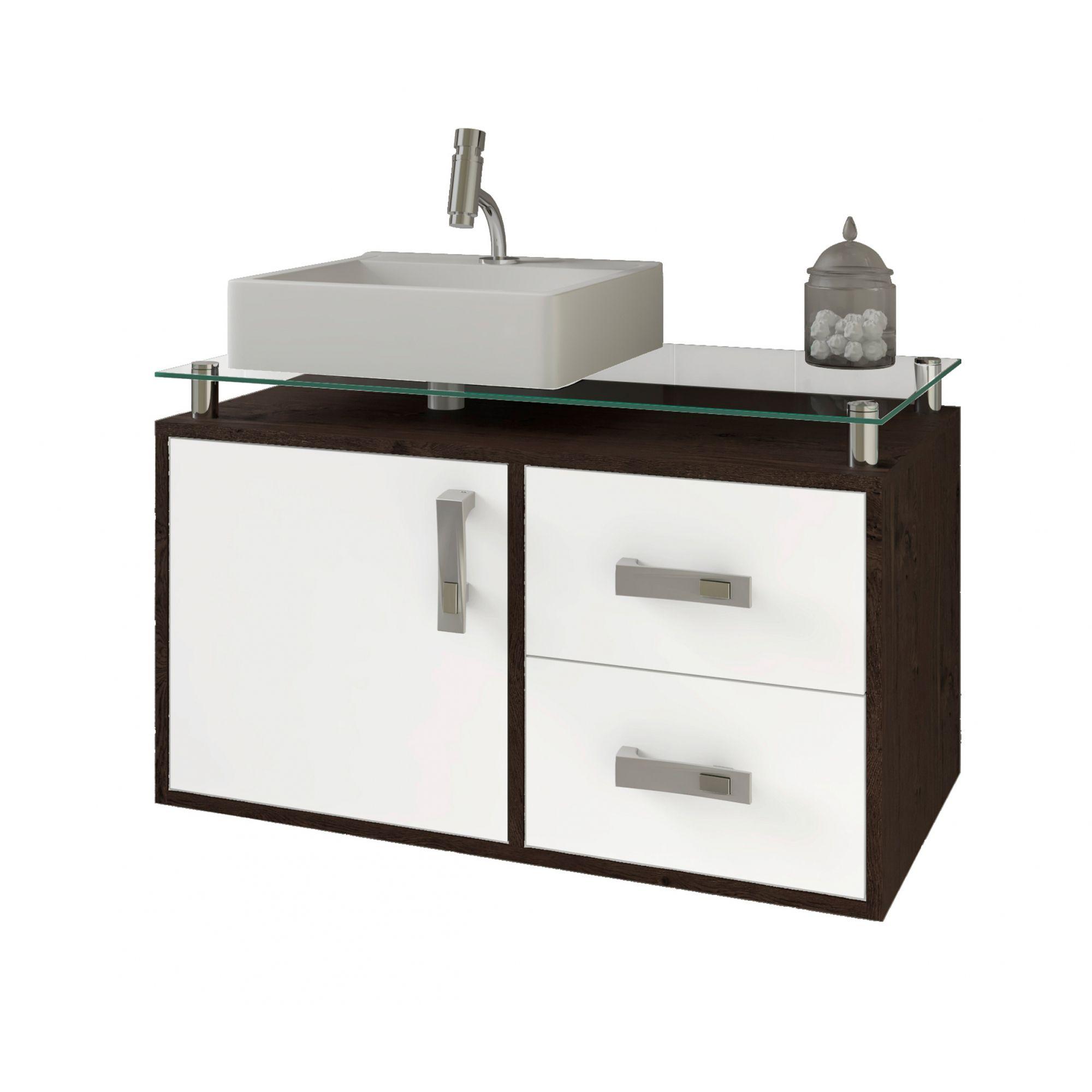 Gabinete Para Banheiro Évora 80 Cm Sobrepor MGM Móveis Café/Branco