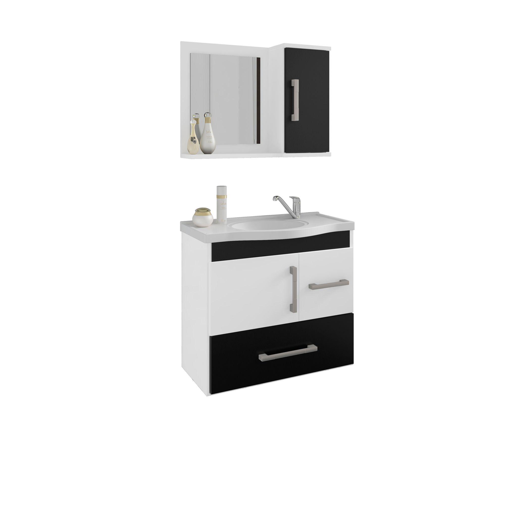 Gabinete Para Banheiro Fortaleza 65 Cm Com  Espelho De Banheiro MGM Móveis Branco/Preto