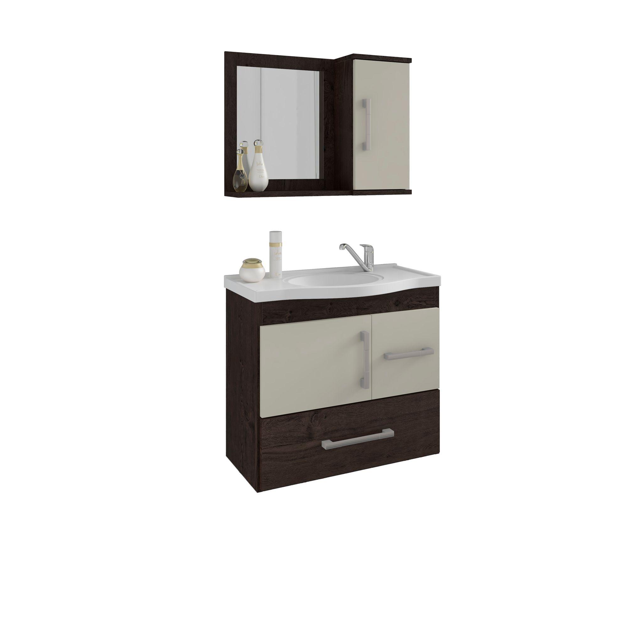 Gabinete Para Banheiro Fortaleza 65 Cm Com  Espelho De Banheiro MGM Móveis Café/Off White