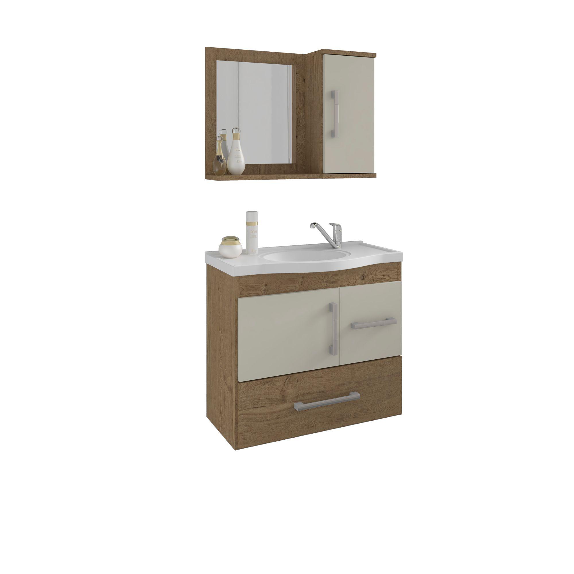 Gabinete Para Banheiro Fortaleza 65 Cm Com  Espelho De Banheiro MGM Móveis Carvalho/Off White