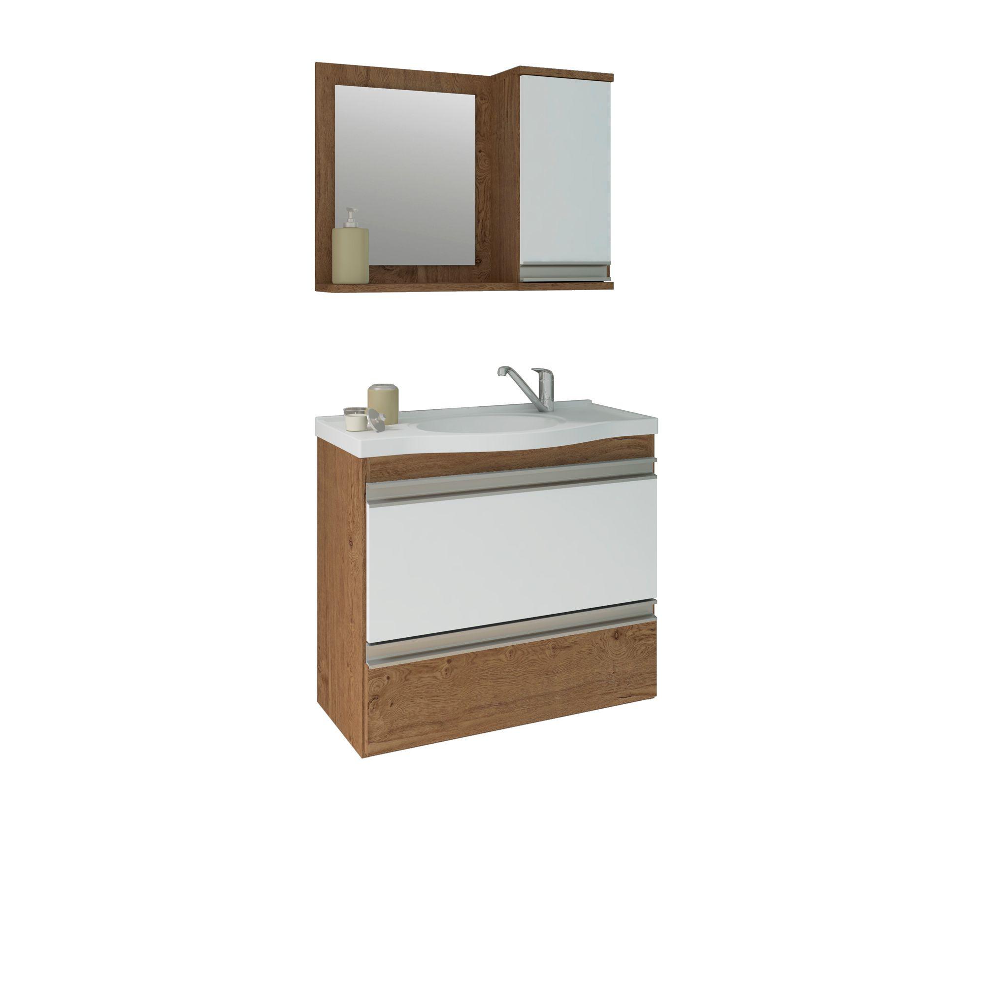 Gabinete Para Banheiro Grécia 65 Cm Com  Espelho De Banheiro MGM Móveis Amendoa/Branco