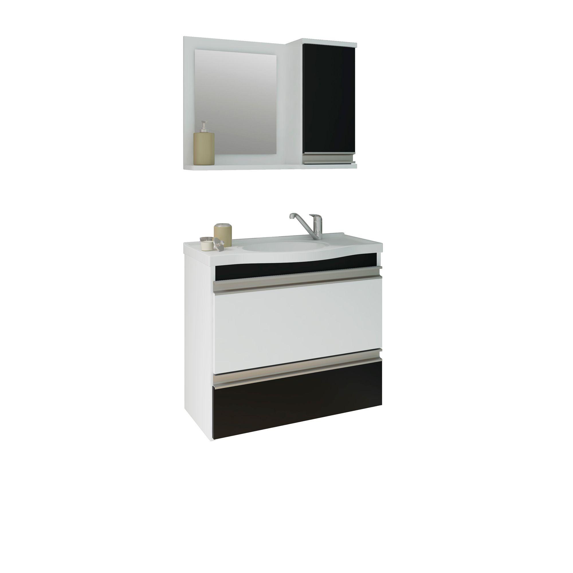 Gabinete Para Banheiro Grécia 65 Cm Com  Espelho De Banheiro MGM Móveis Branco/Preto