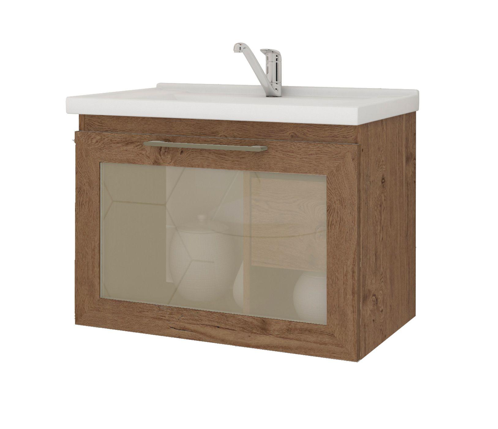 Gabinete Para Banheiro Hibisco 59 Cm Porta Vidro Reflecta MGM Móveis Amendoa