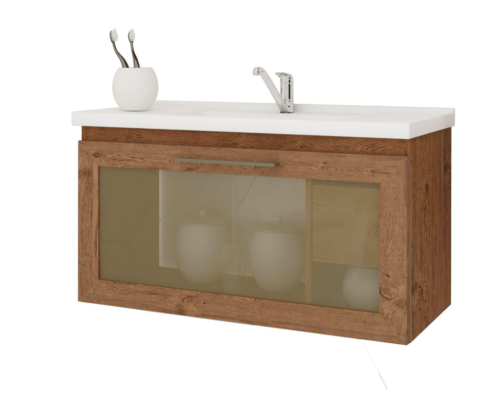 Gabinete Para Banheiro Hibisco 79 Cm Porta Vidro Reflecta MGM Móveis Amendoa