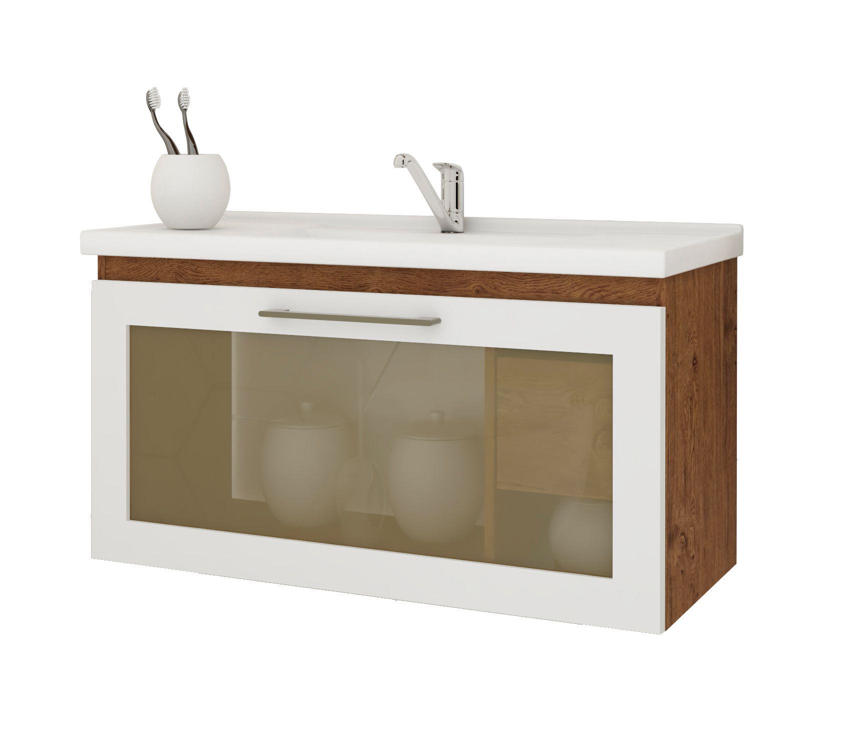 Gabinete Para Banheiro Hibisco 79 Cm Porta Vidro Reflecta MGM Móveis Amendoa/Branco