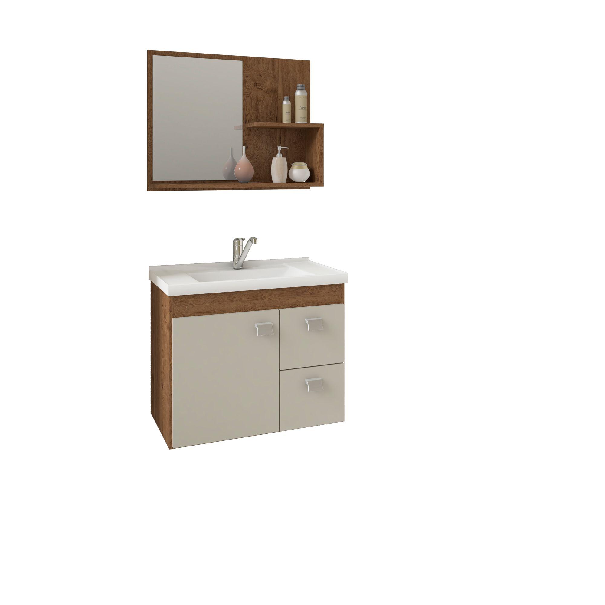 Gabinete Para Banheiro HORTENCIA 55 Cm Com Espelho De Banheiro MGM Móveis Amendoa/Off White