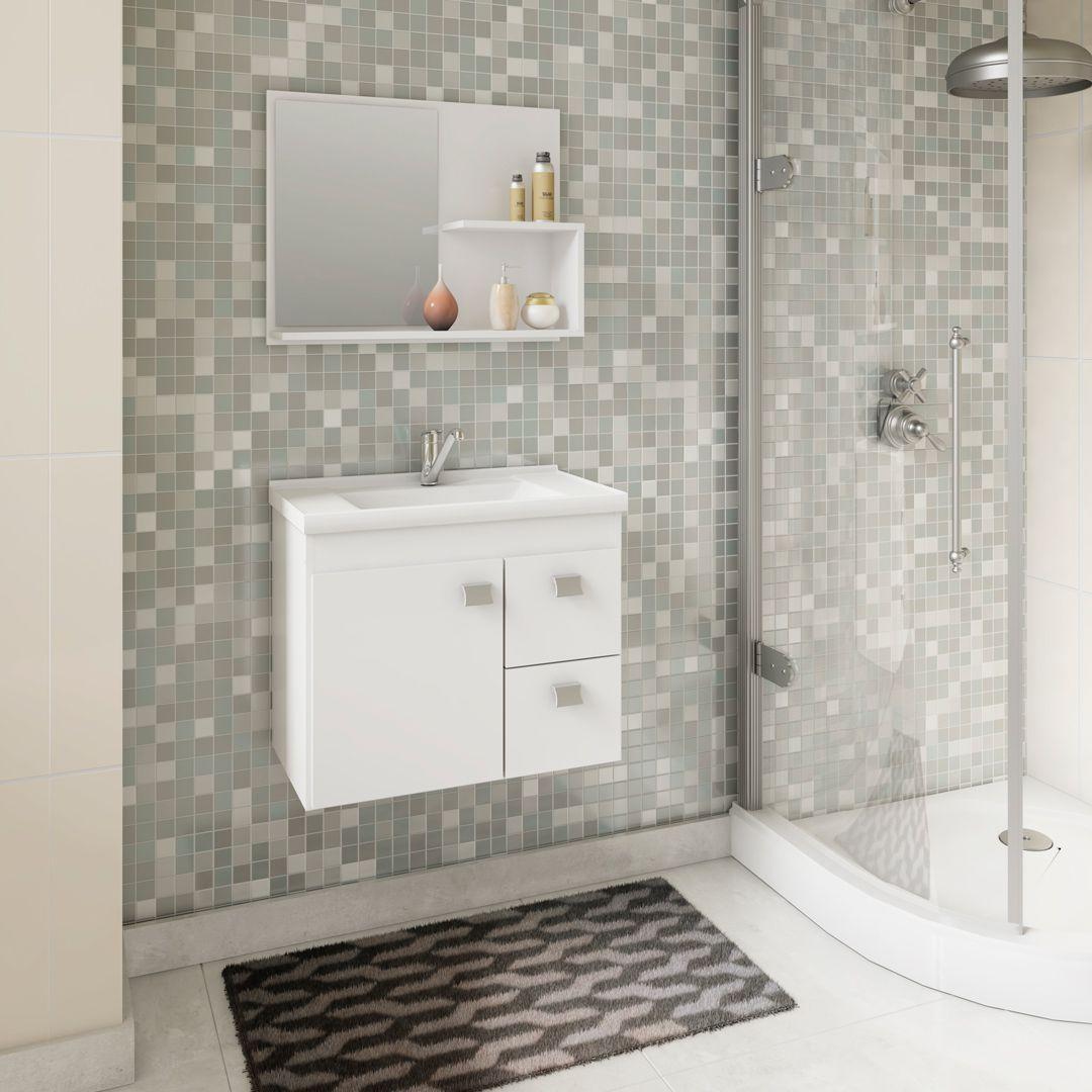 Gabinete Para Banheiro HORTENCIA 55 Cm Com Espelho De Banheiro MGM Móveis Branco