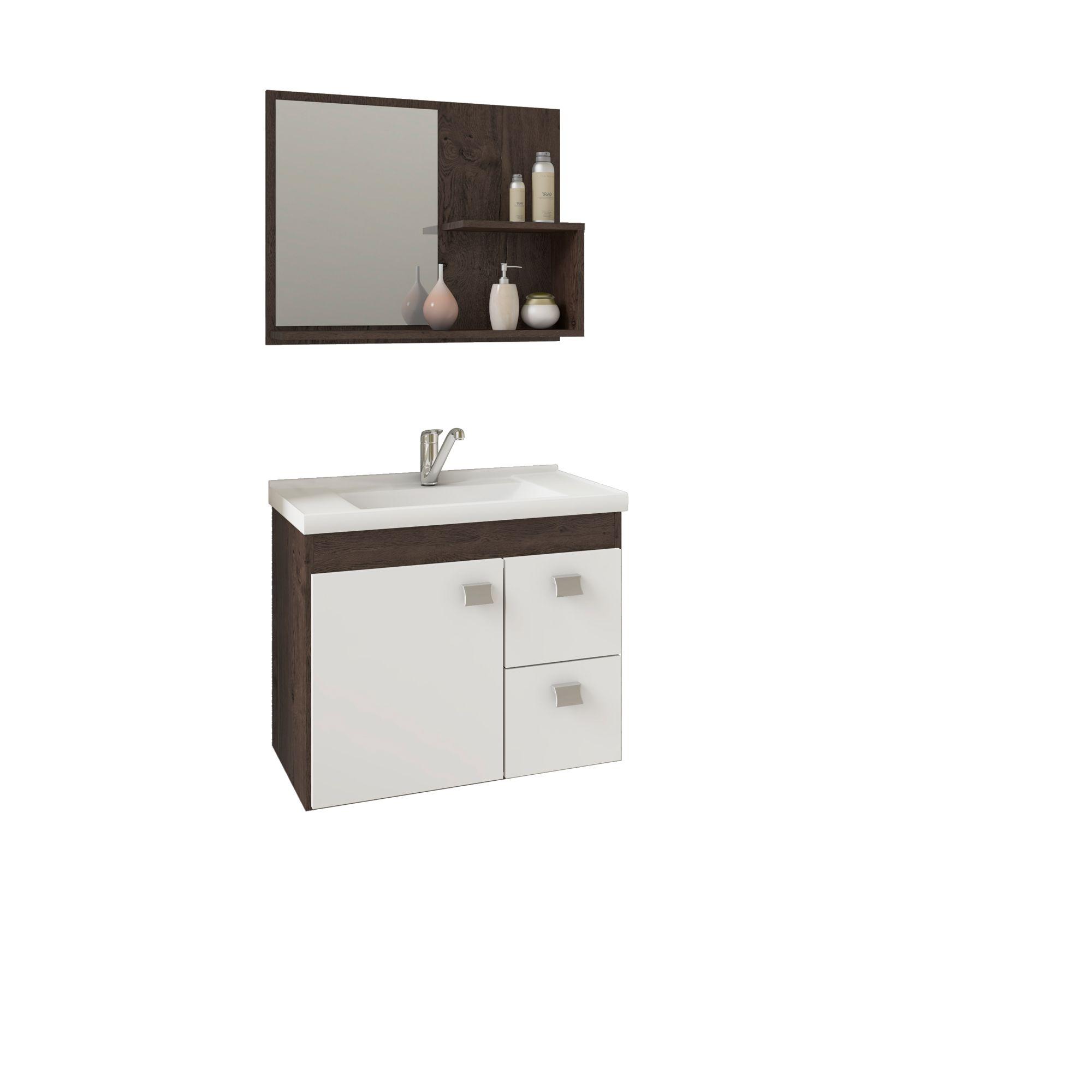 Gabinete Para Banheiro HORTENCIA 55 Cm Com Espelho De Banheiro MGM Móveis Café/Branco