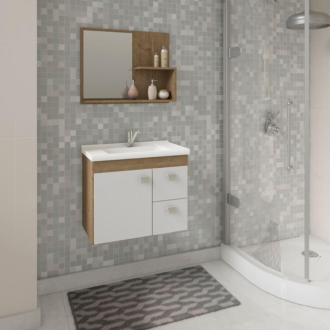 Gabinete Para Banheiro HORTENCIA 55 Cm Com Espelho De Banheiro MGM Móveis Carvalho/Branco
