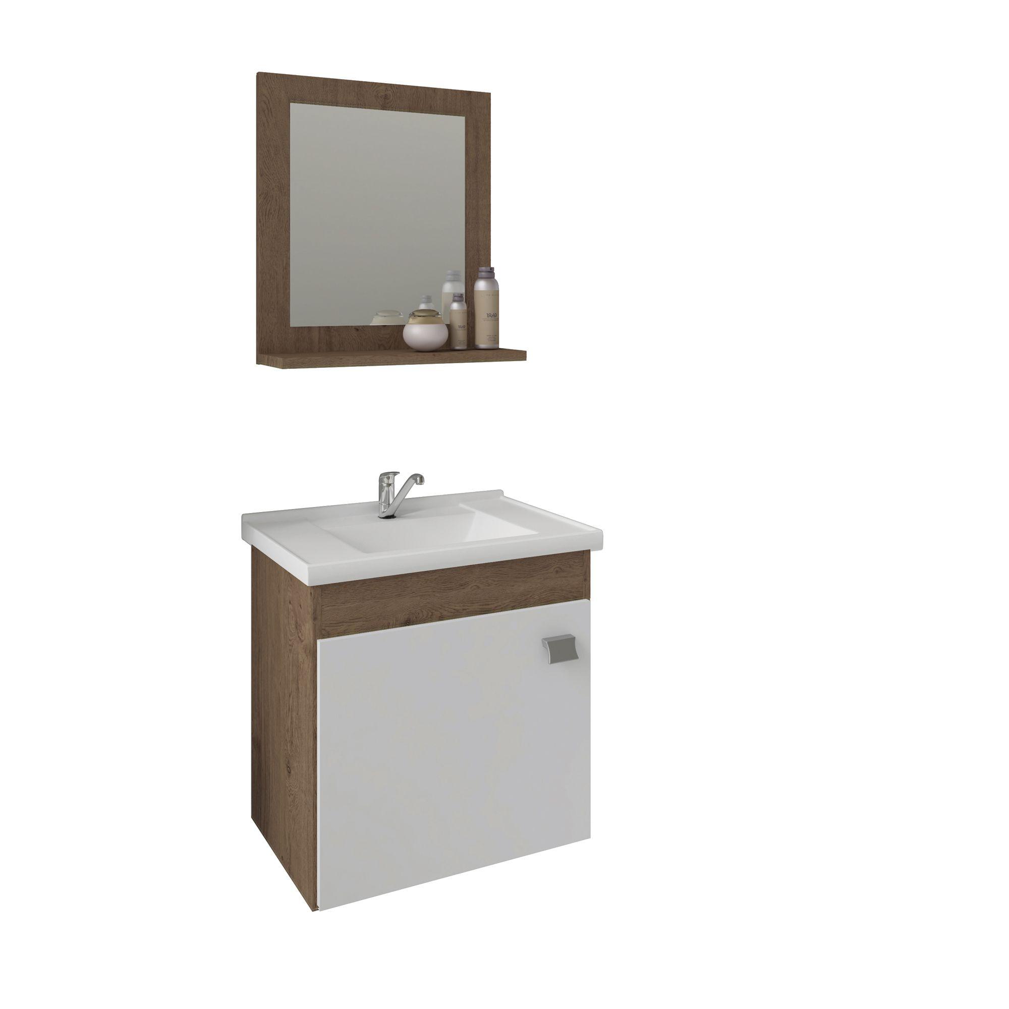 Gabinete Para Banheiro Irís 44 Cm Com  Espelho De Banheiro MGM Móveis Amendoa/Branco