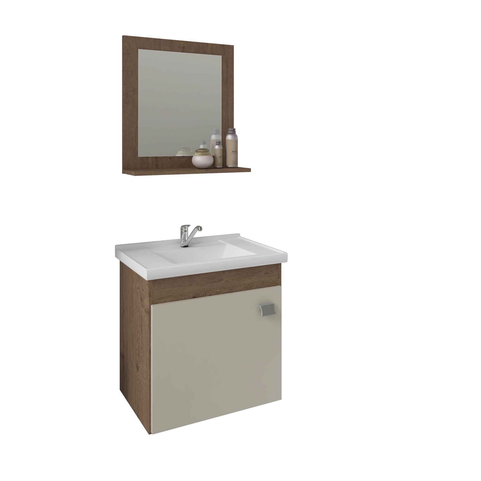 Gabinete Para Banheiro Irís 44 Cm Com  Espelho De Banheiro MGM Móveis Amendoa/Off White