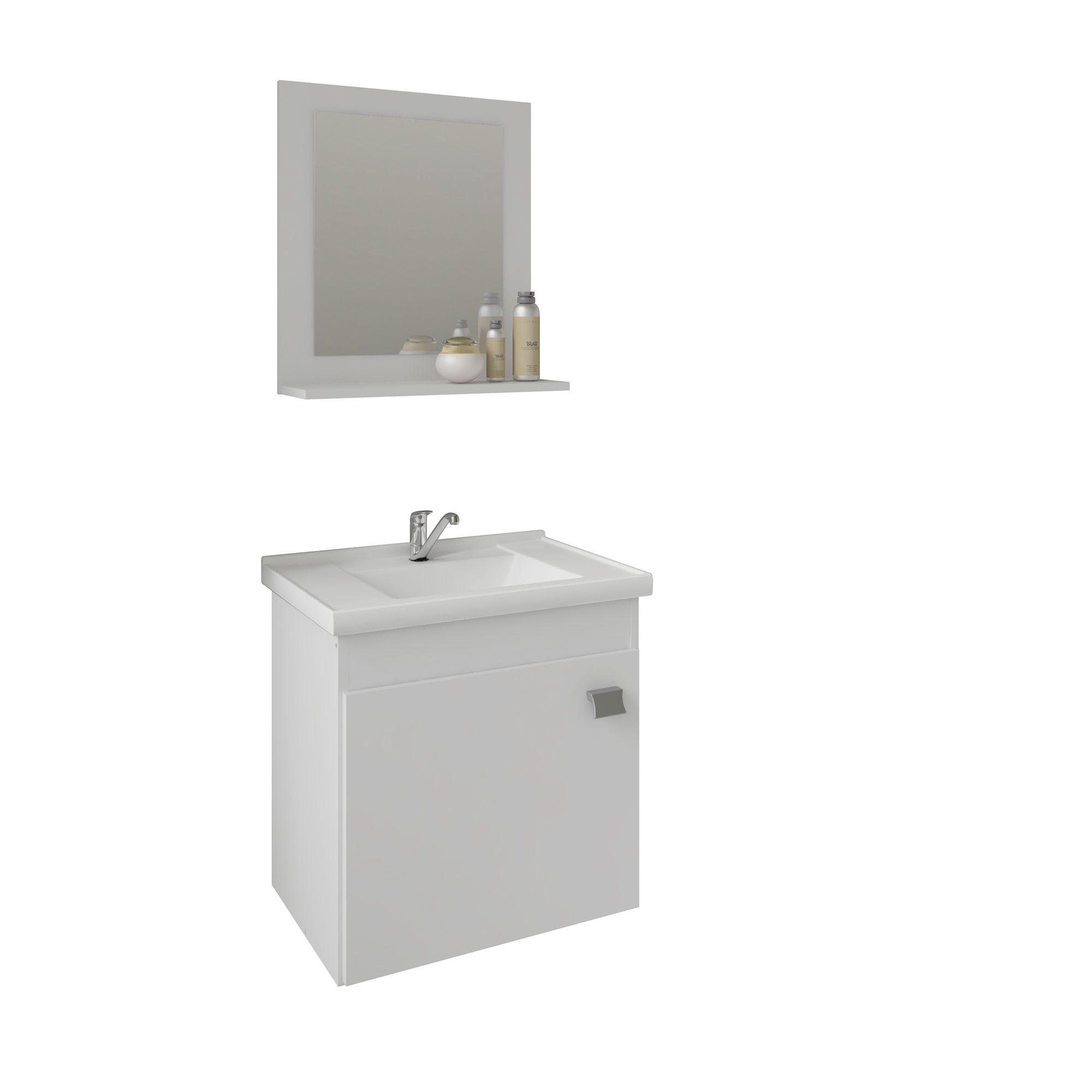 Gabinete Para Banheiro Irís 44 Cm Com  Espelho De Banheiro MGM Móveis Branco