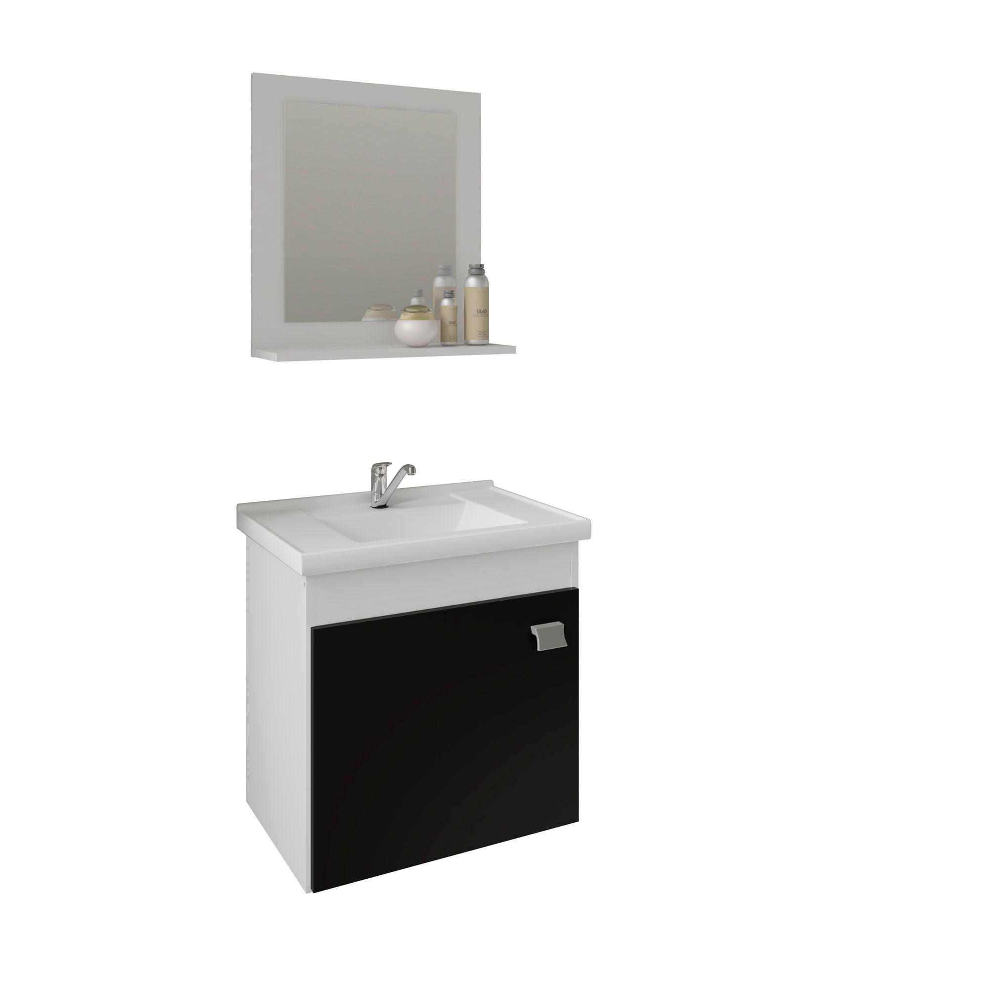 Gabinete Para Banheiro Irís 44 Cm Com  Espelho De Banheiro MGM Móveis Branco/Preto