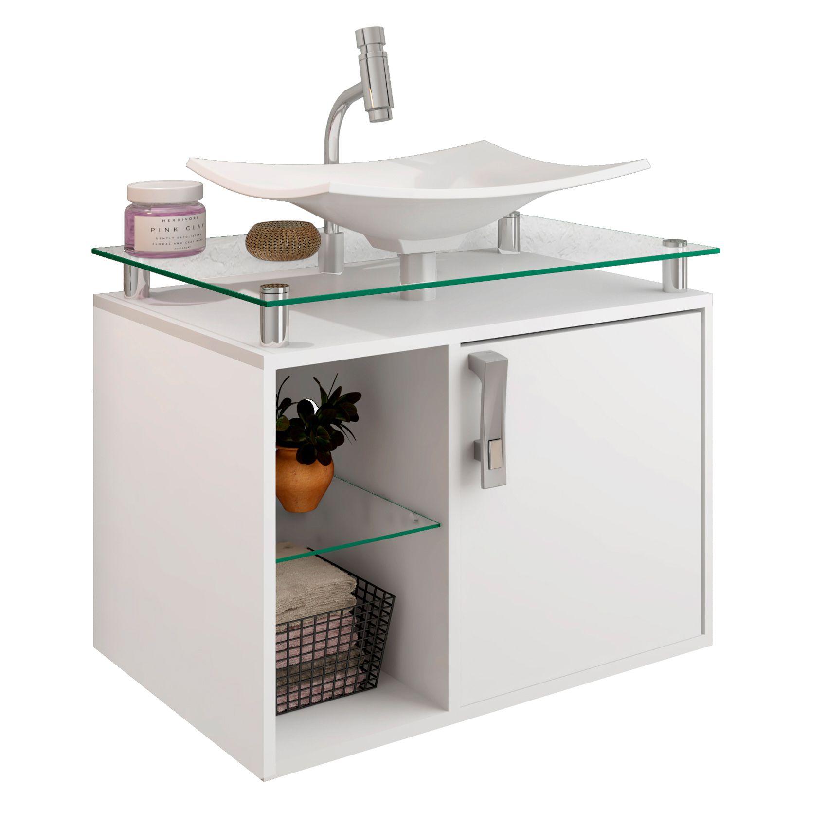Gabinete Para Banheiro Lagos 60 Cm Sobrepor MGM Móveis Branco