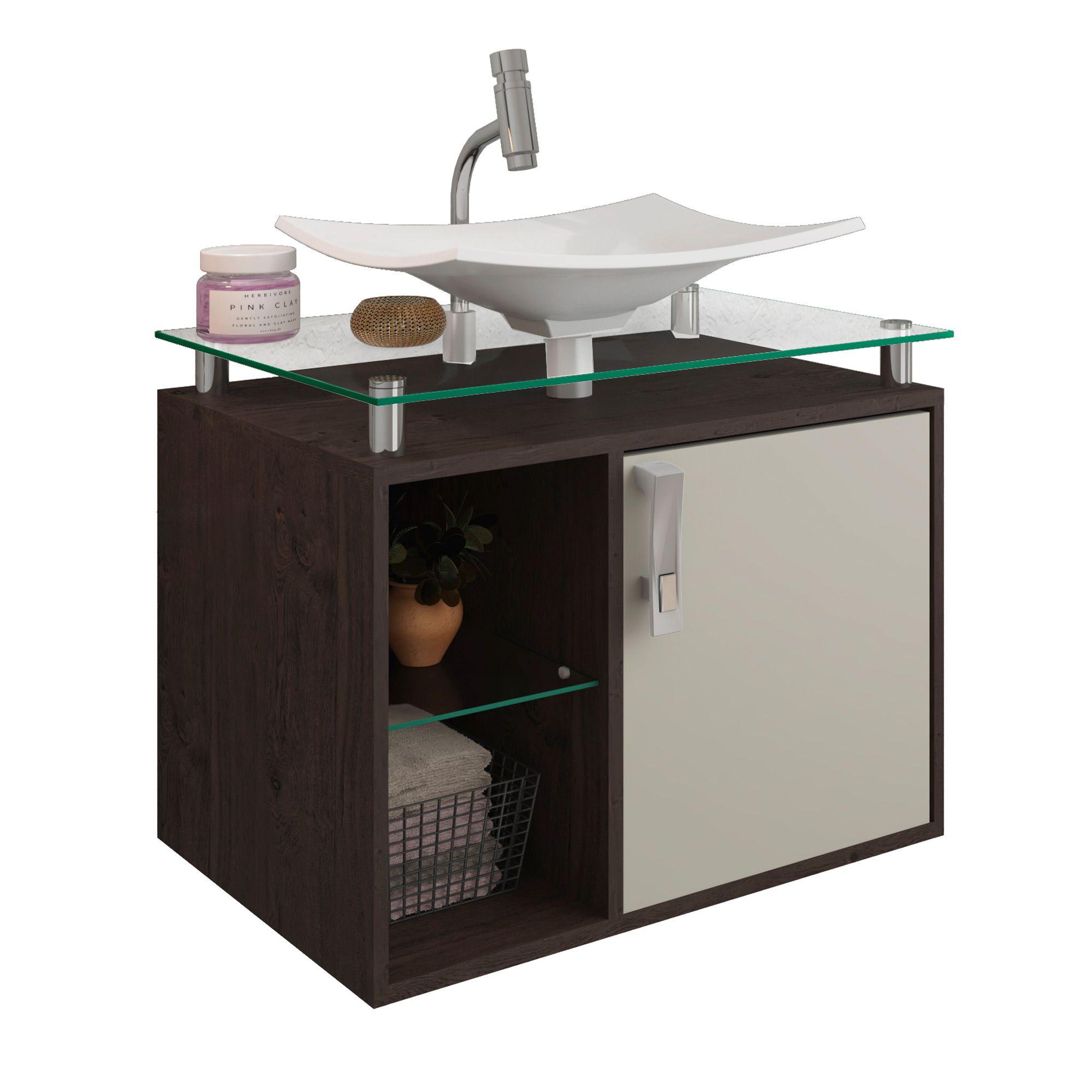 Gabinete Para Banheiro Lagos 60 Cm Sobrepor MGM Móveis Café/Off White