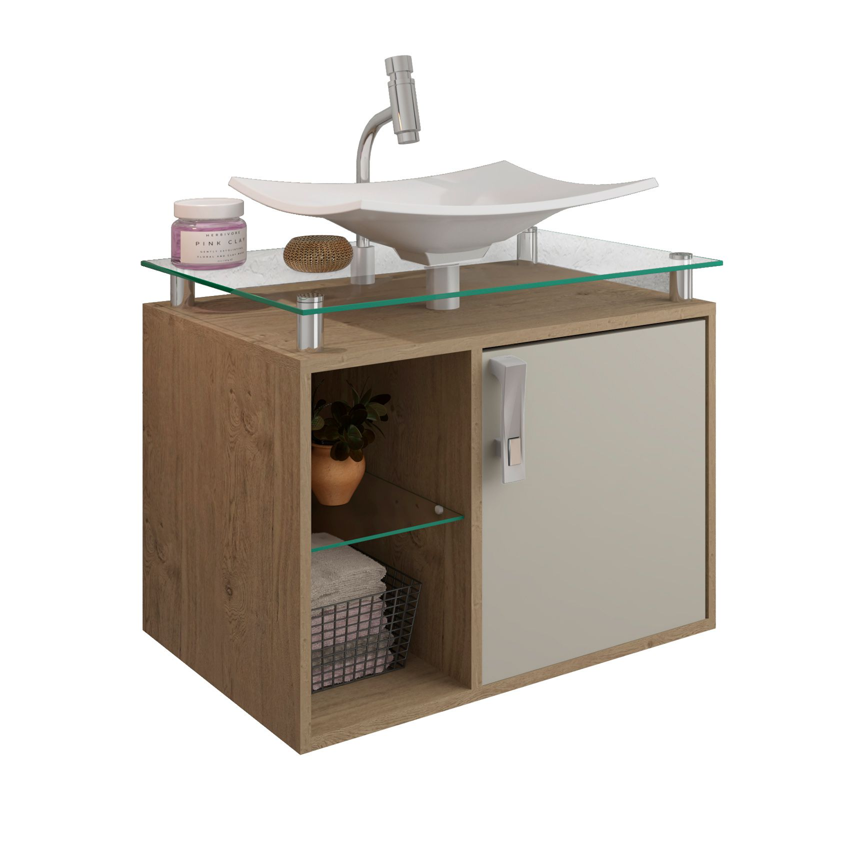 Gabinete Para Banheiro Lagos 60 Cm Sobrepor MGM Móveis Carvalho/Off White