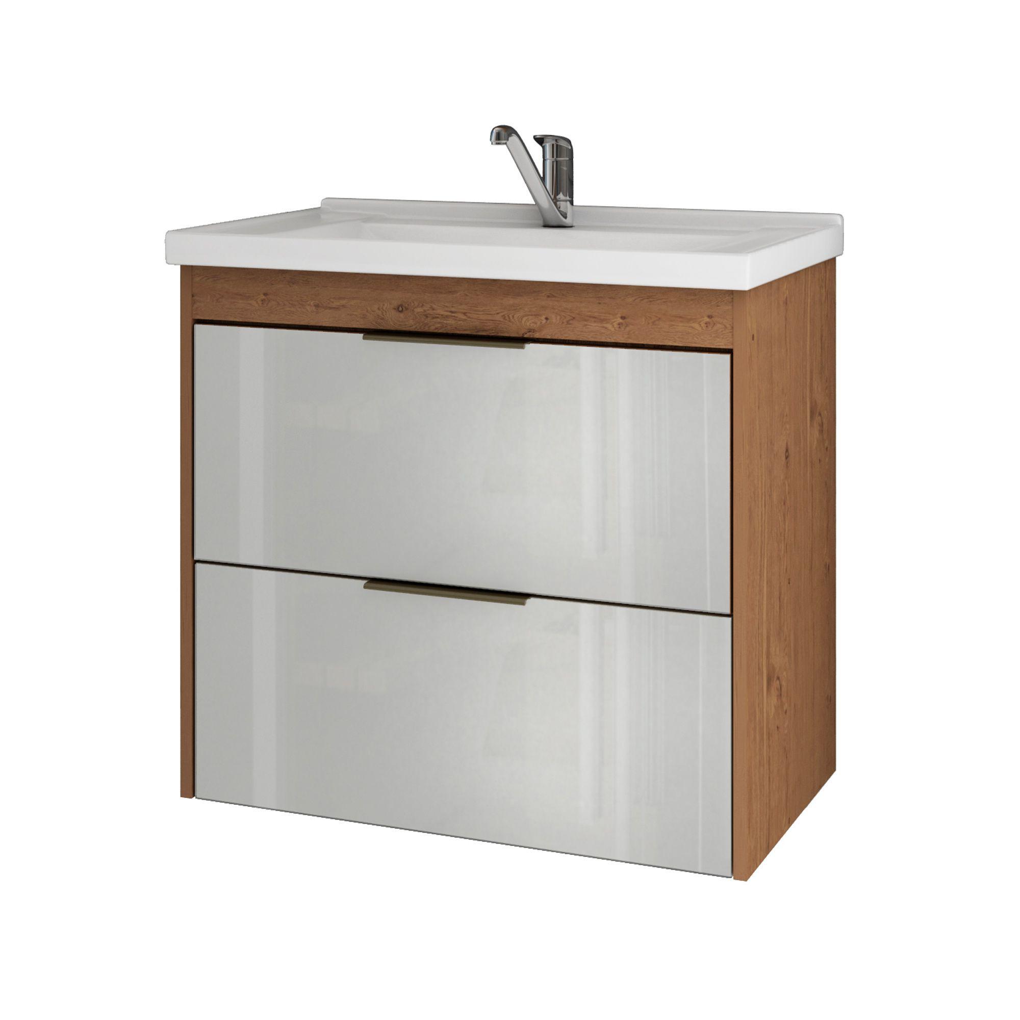 Gabinete Para Banheiro Lavanda 59 Cm Frente Vidro MGM Móveis Amendoa/Branco