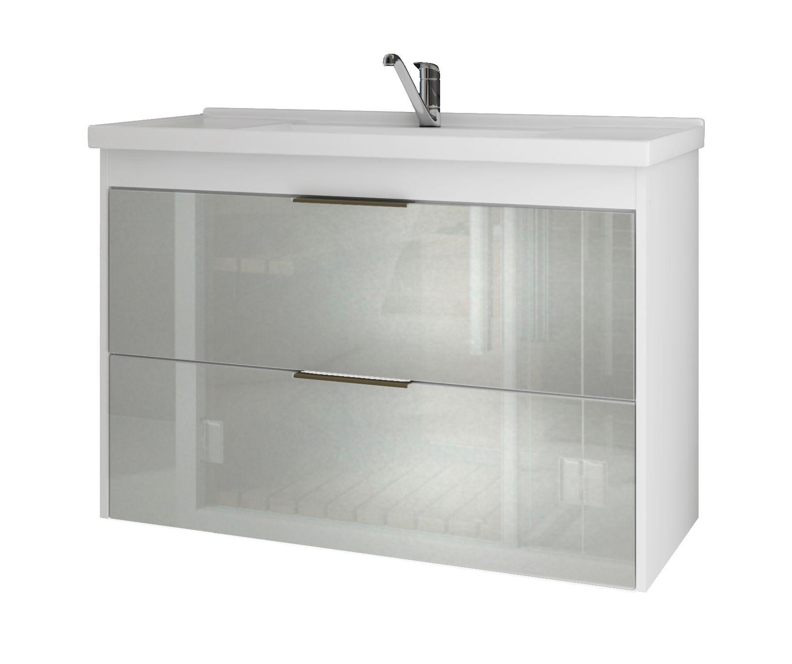 Gabinete Para Banheiro Lavanda 79 Cm Frente Vidro MGM Móveis Branco