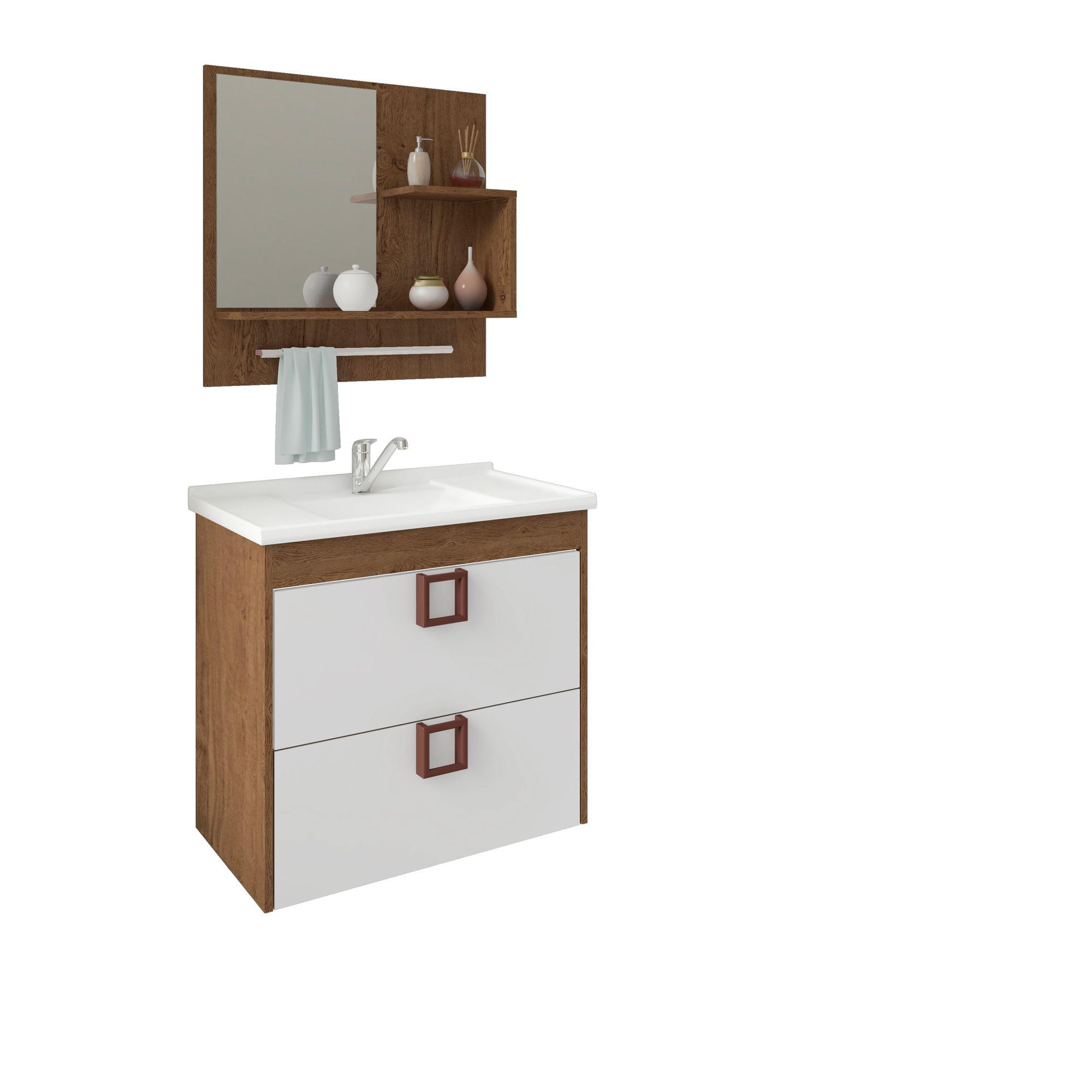 Gabinete Para Banheiro Lírio 59 Cm Com  Espelho De Banheiro MGM Móveis Amendoa/Branco