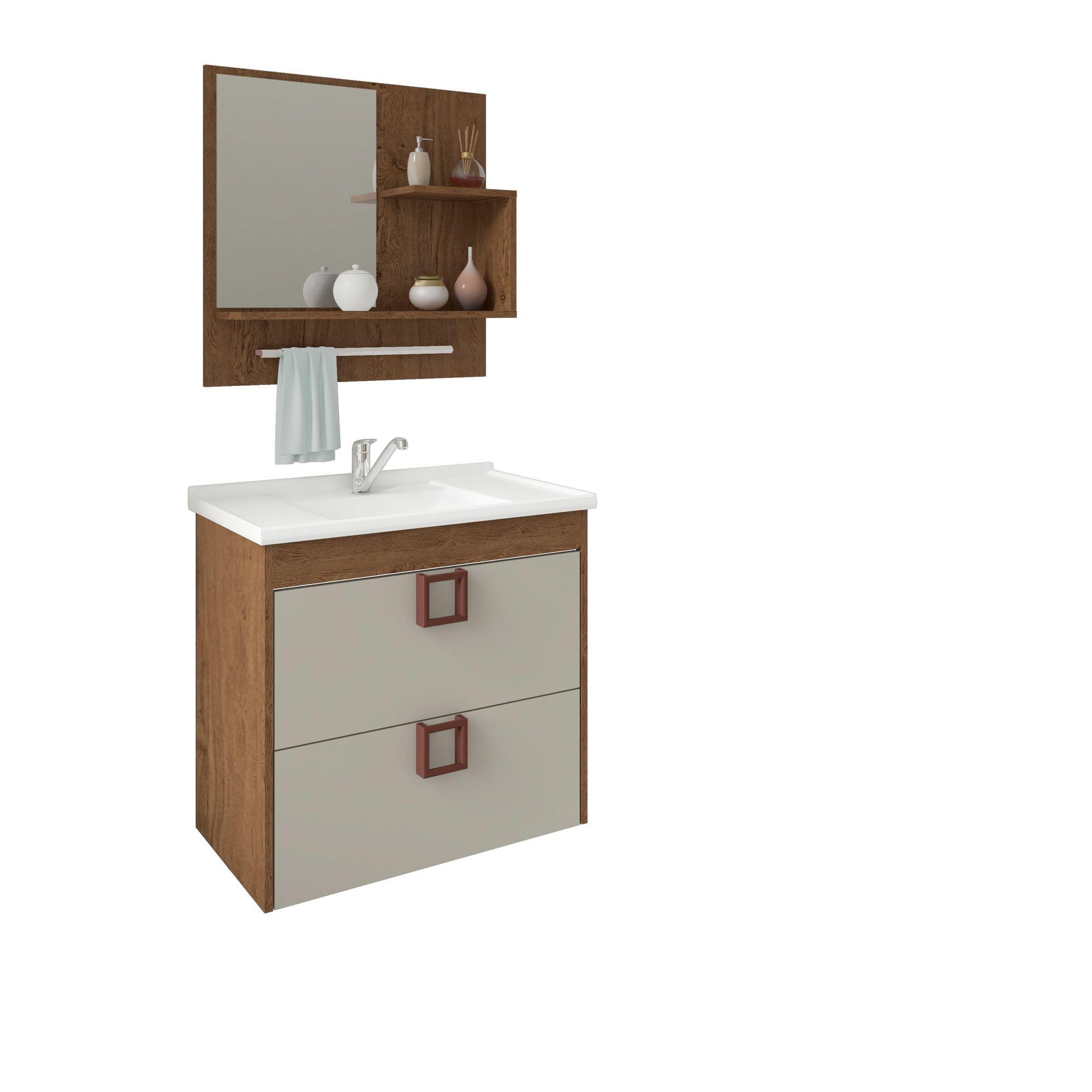 Gabinete Para Banheiro Lírio 59 Cm Com  Espelho De Banheiro MGM Móveis Amendoa/Off White