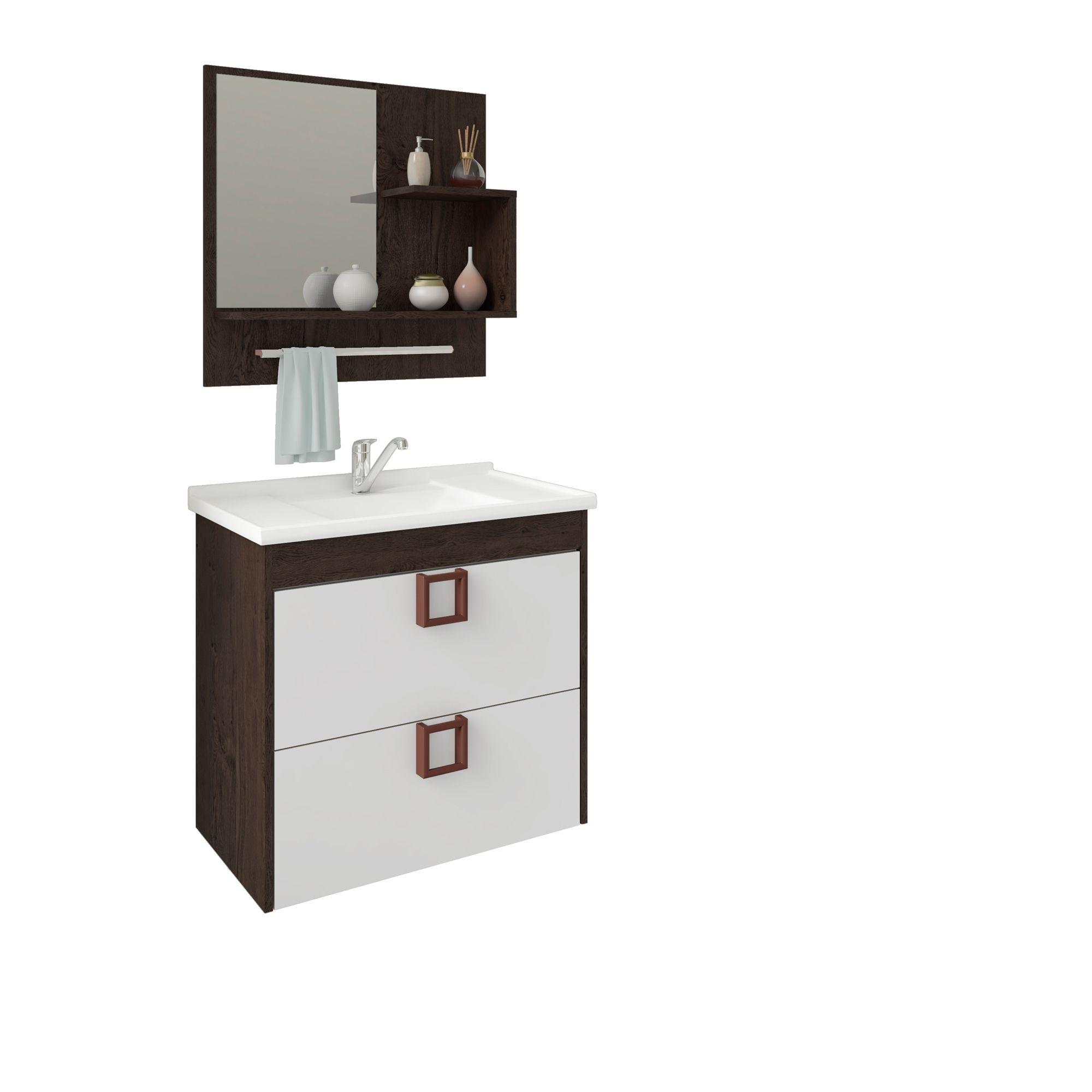 Gabinete Para Banheiro Lírio 59 Cm Com  Espelho De Banheiro MGM Móveis Café/Branco