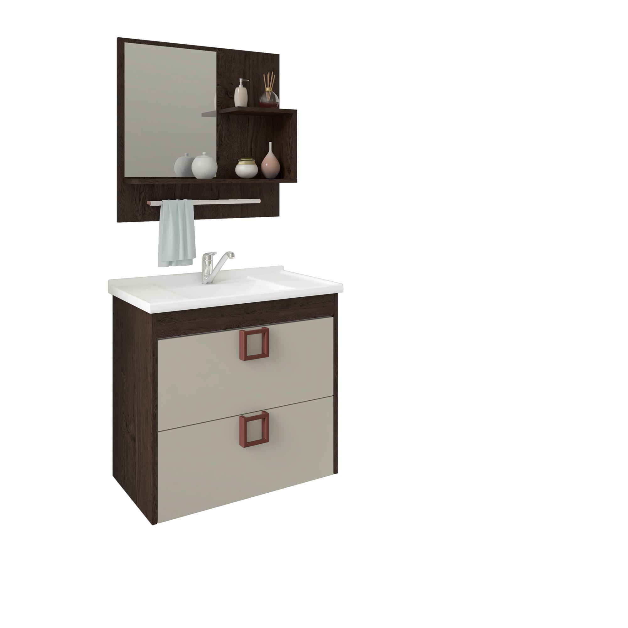 Gabinete Para Banheiro Lírio 59 Cm Com  Espelho De Banheiro MGM Móveis Café/Off White