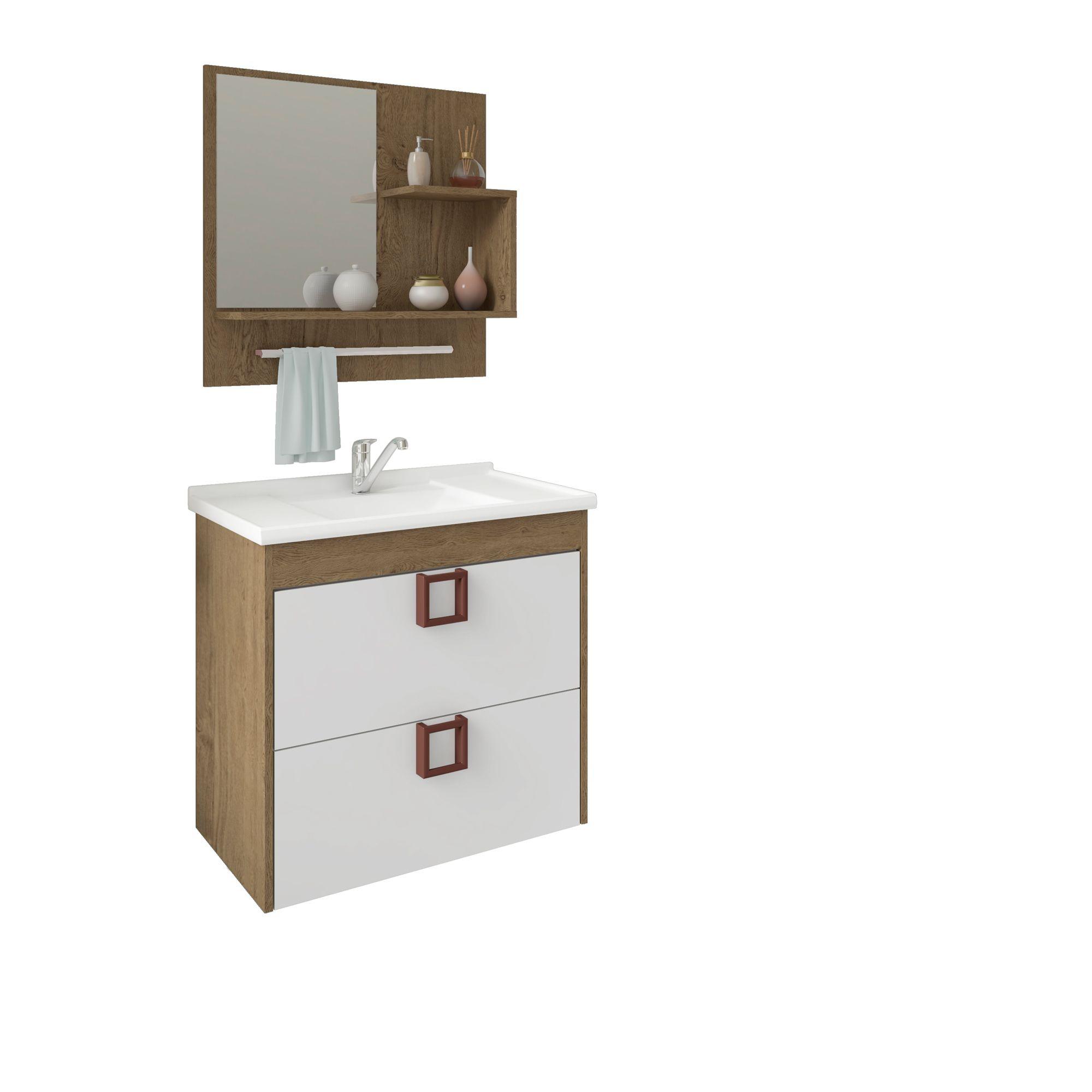 Gabinete Para Banheiro Lírio 59 Cm Com  Espelho De Banheiro MGM Móveis Carvalho/Branco