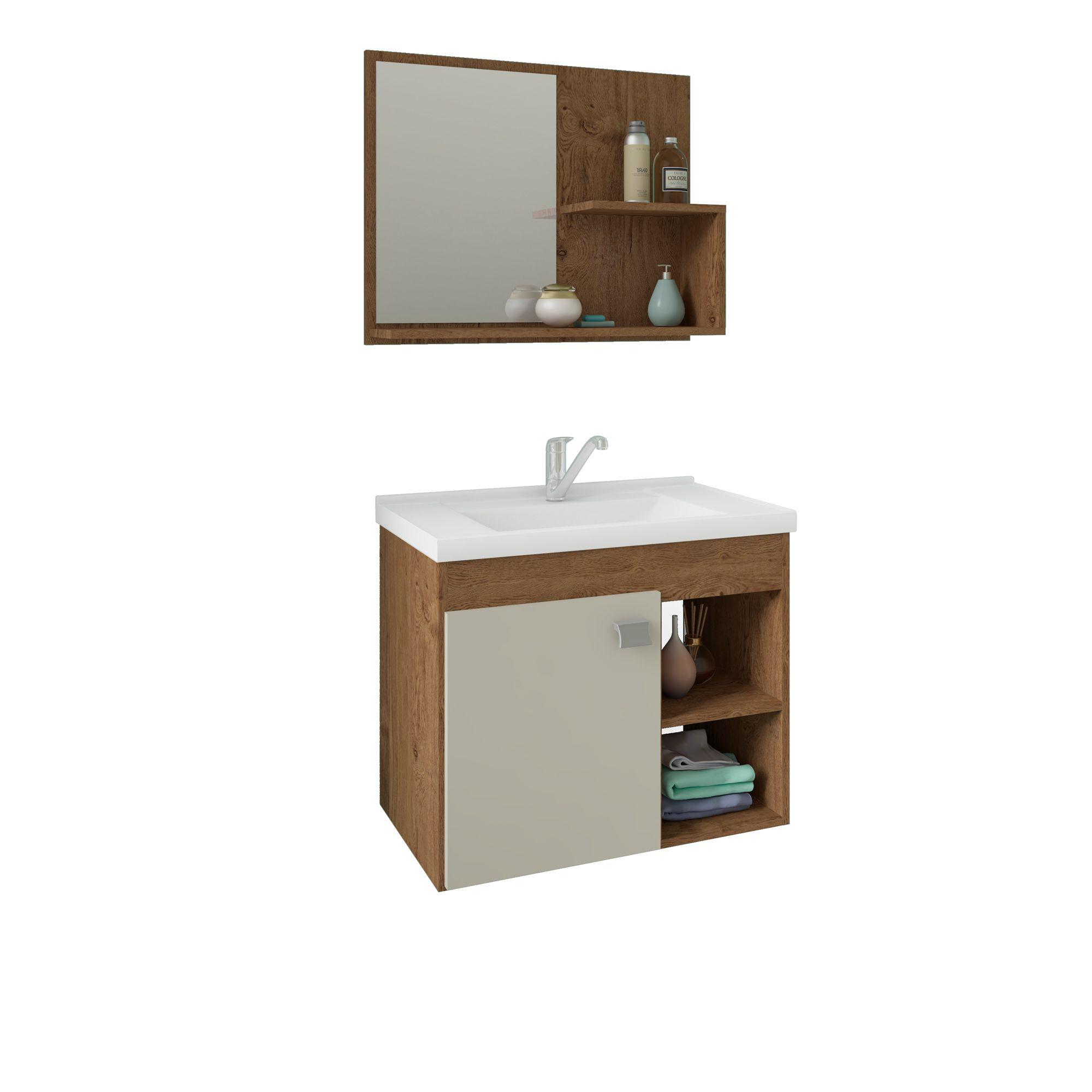 Gabinete Para Banheiro Lótus 55 Cm Com Espelho De Banheiro MGM Móveis Amendoa/Off White