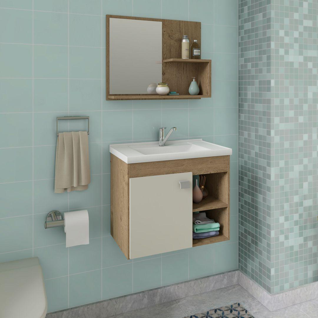 Gabinete Para Banheiro Lótus 55 Cm Com Espelho De Banheiro MGM Móveis Carvalho/Off White