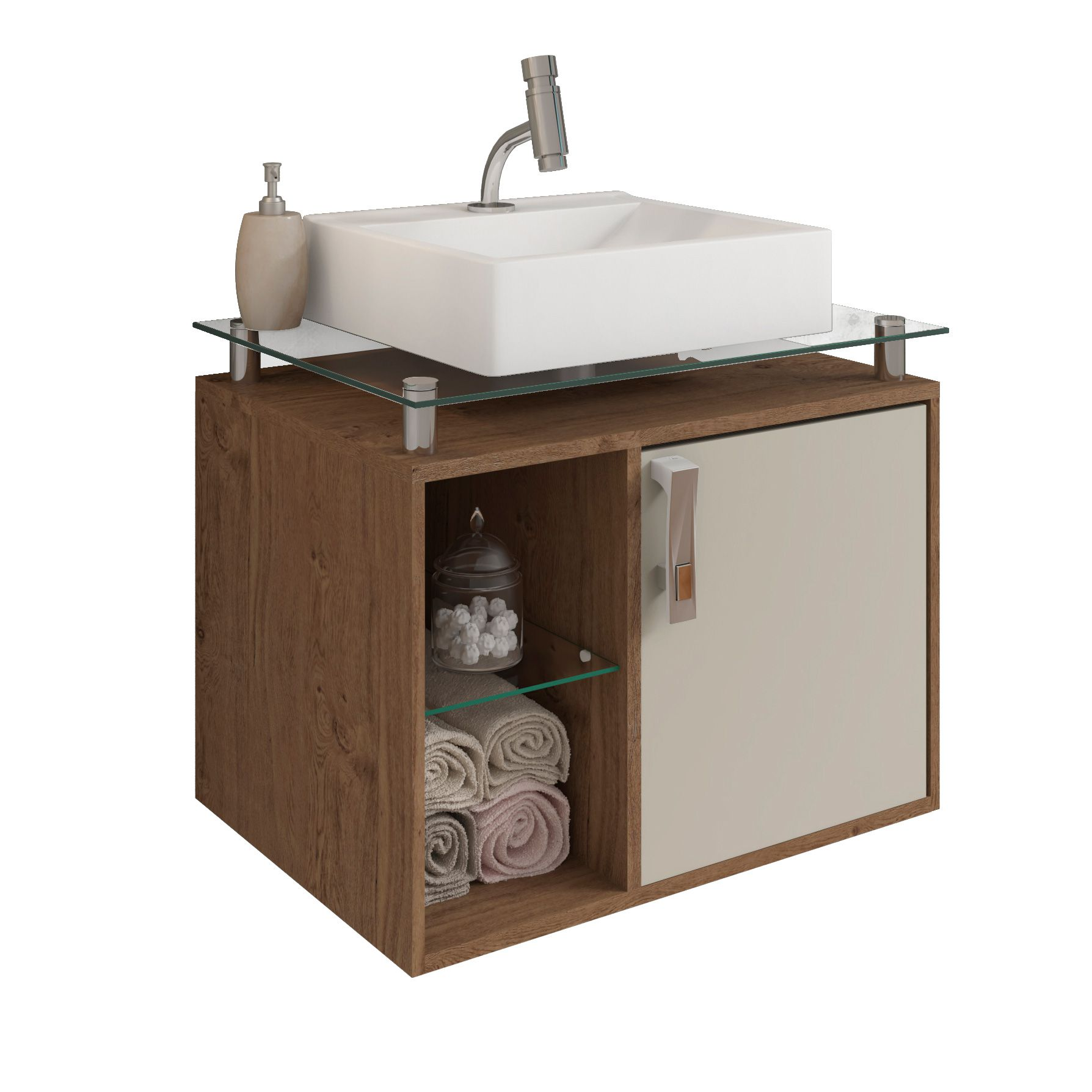 Gabinete Para Banheiro Porto 60 Cm Sobrepor MGM Móveis Amendoa/Off White