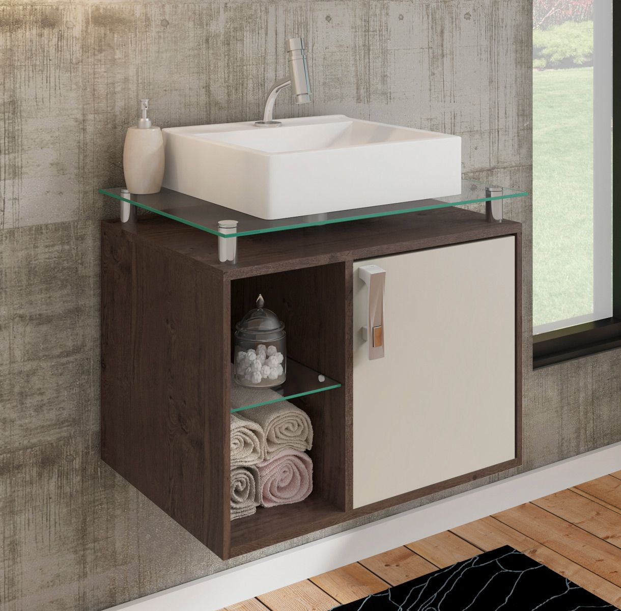 Gabinete Para Banheiro Porto 60 Cm Sobrepor MGM Móveis Café/Off White