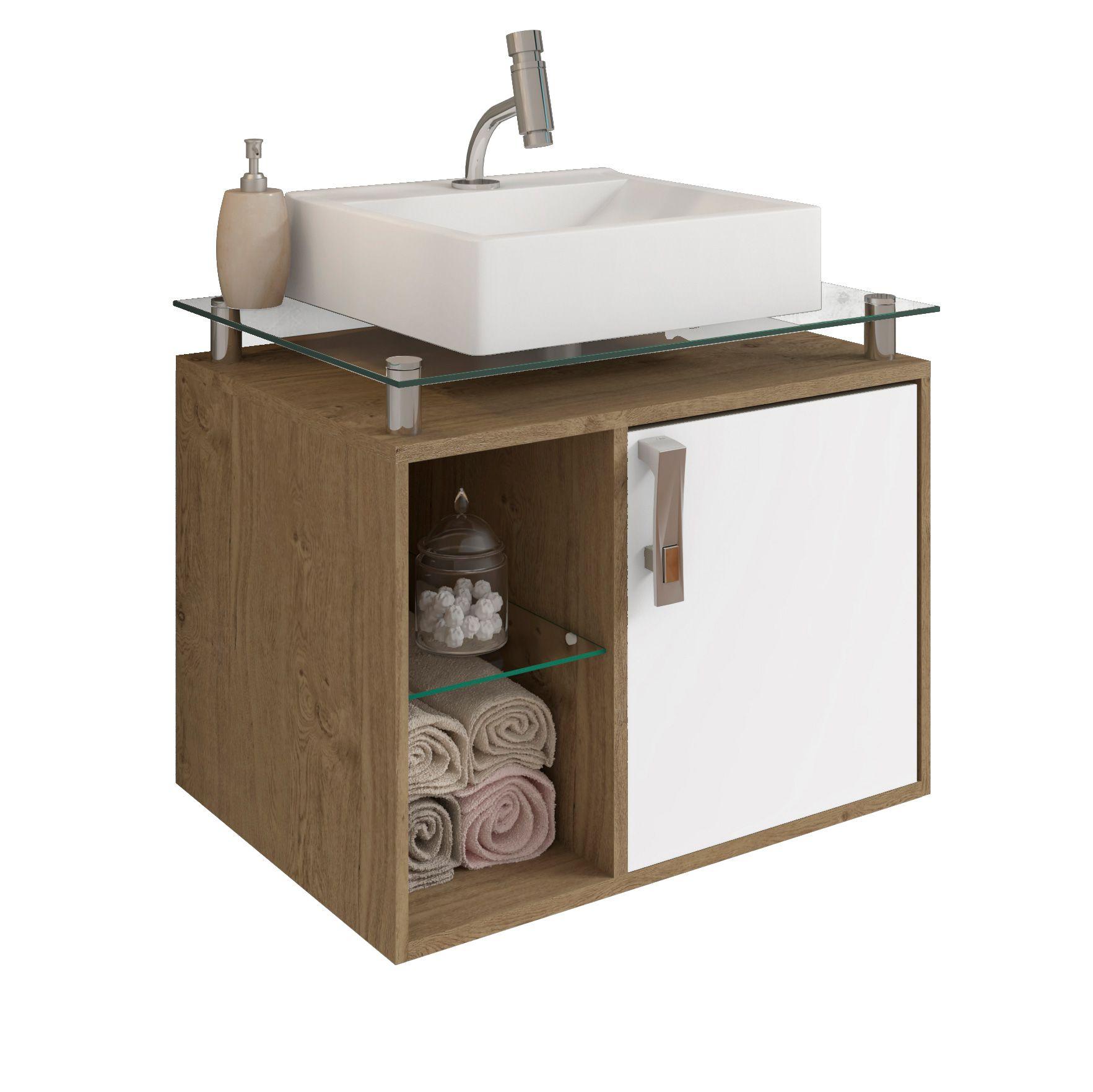 Gabinete Para Banheiro Porto 60 Cm Sobrepor MGM Móveis Carvalho/Branco