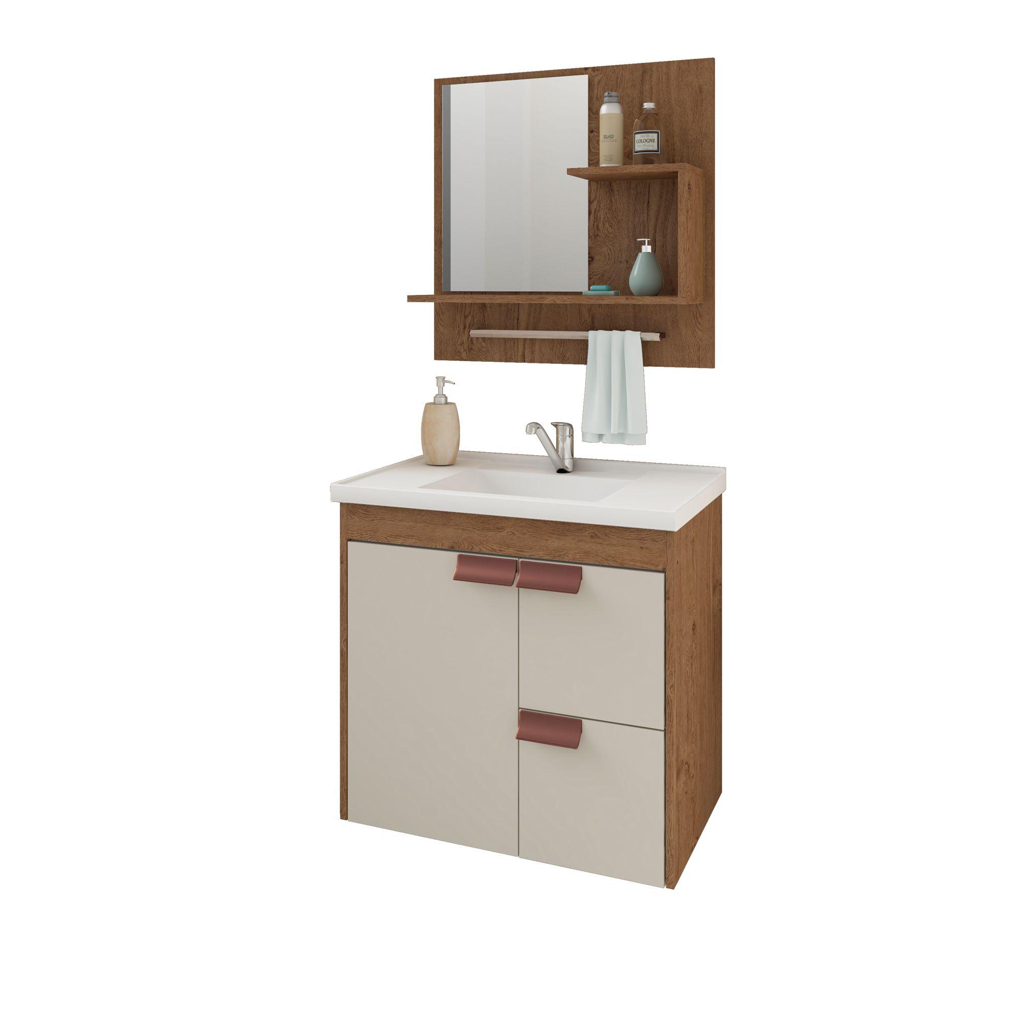 Gabinete Para Banheiro Tulipa 59 Cm Com  Espelho De Banheiro MGM Móveis Amendoa/Off White