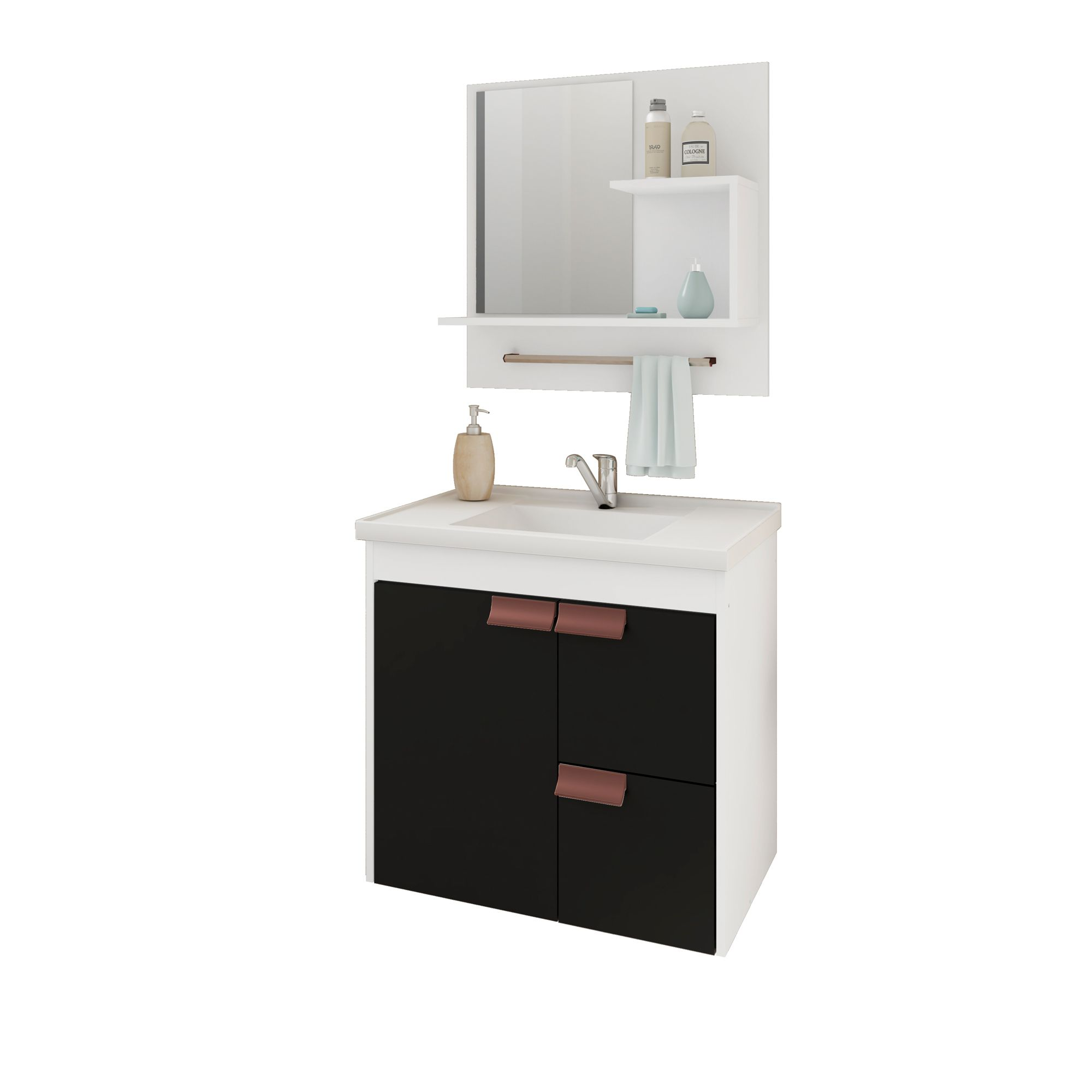 Gabinete Para Banheiro Tulipa 59 Cm Com  Espelho De Banheiro MGM Móveis Branco/Preto