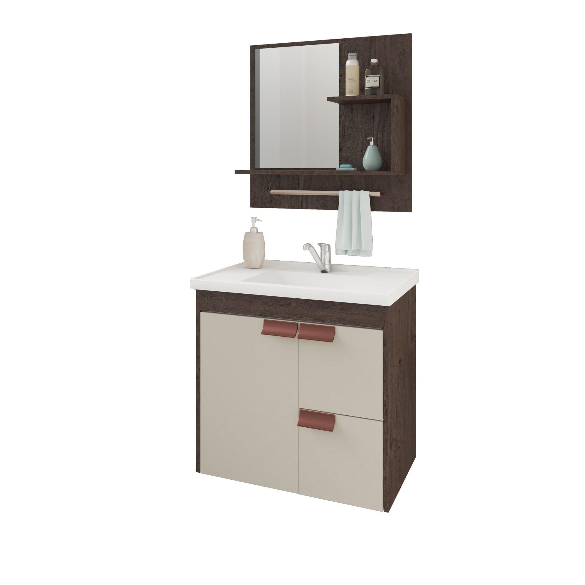 Gabinete Para Banheiro Tulipa 59 Cm Com  Espelho De Banheiro MGM Móveis Café/Off White