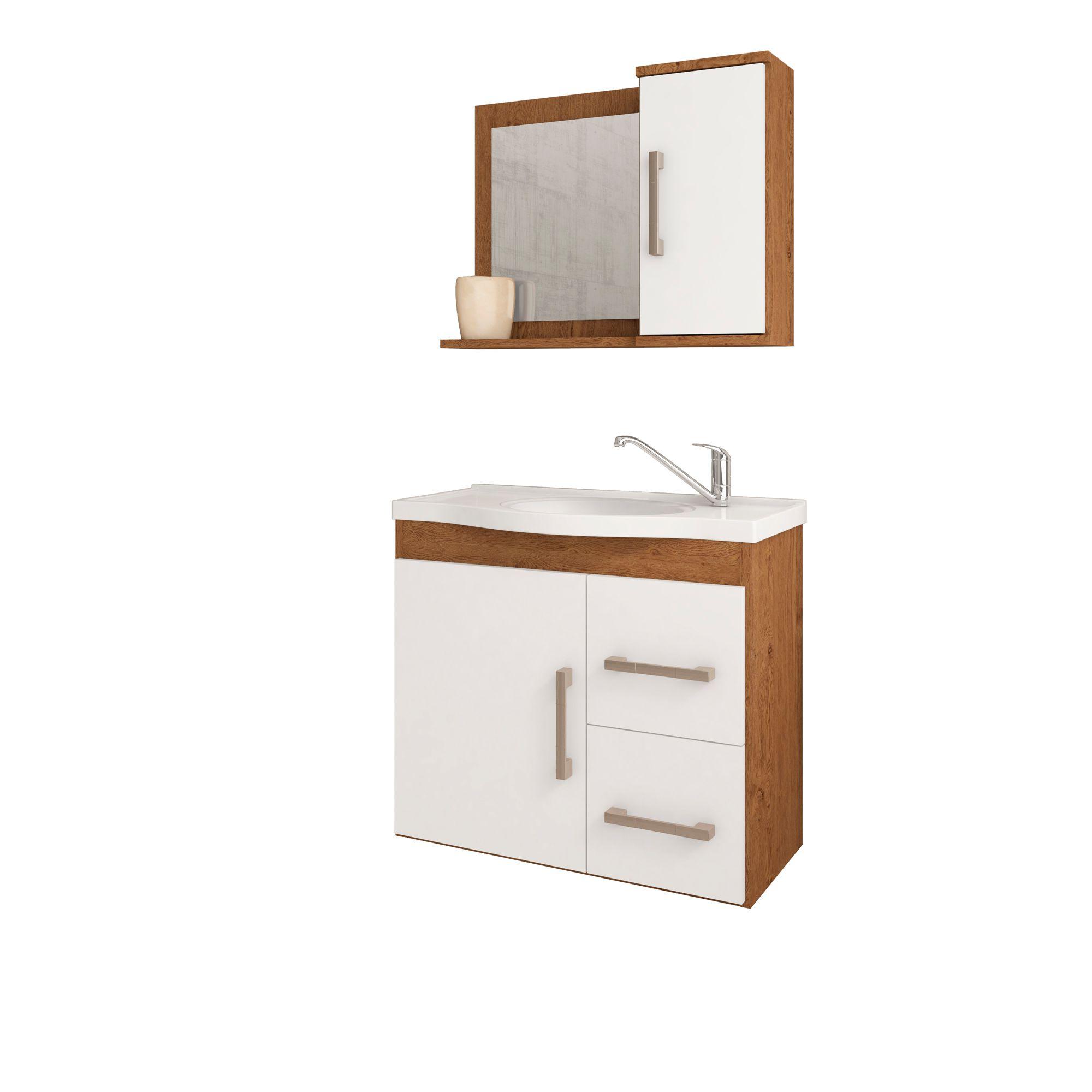 Gabinete Para Banheiro Vix 65 Cm Com  Espelho De Banheiro MGM Móveis Amendoa/Branco