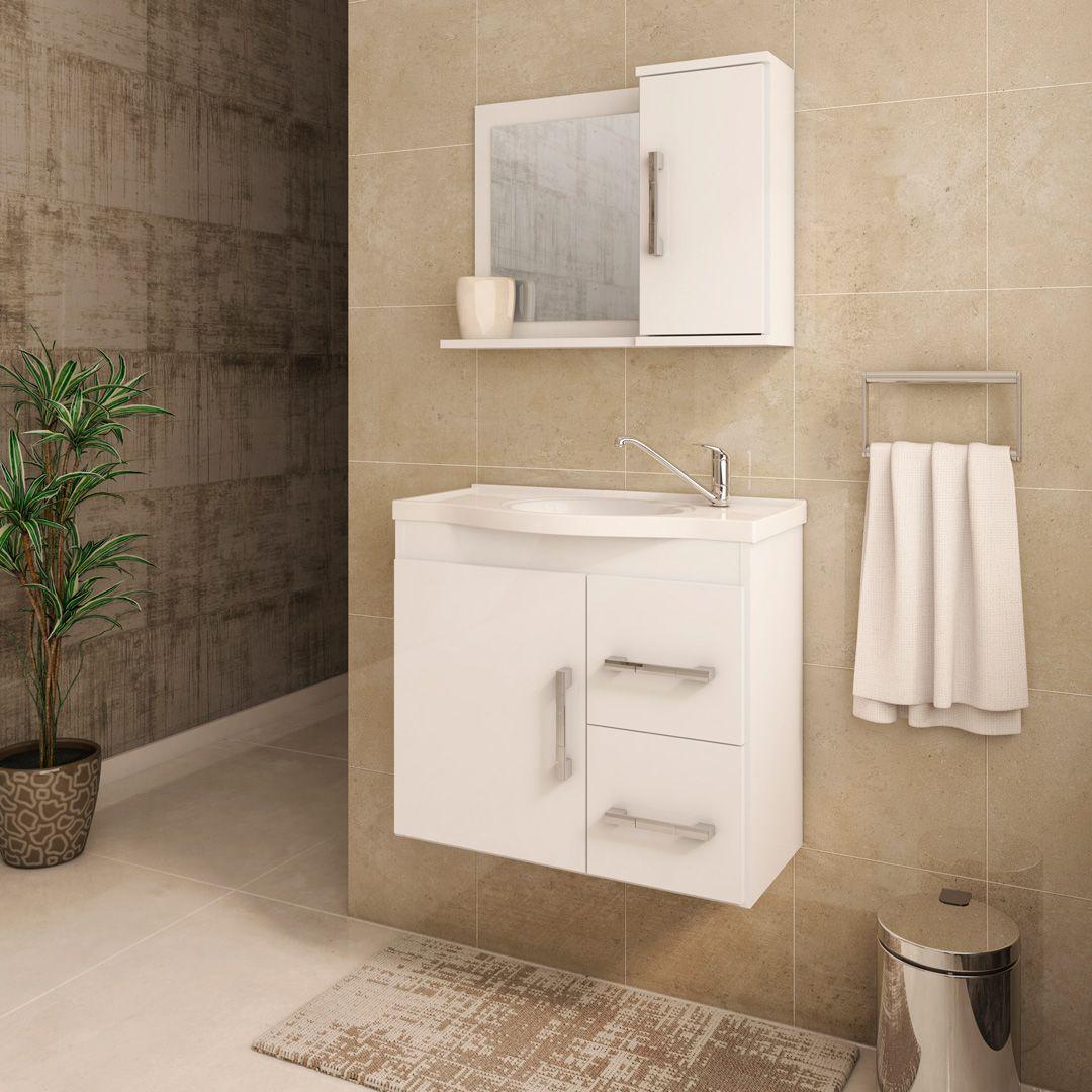 Gabinete Para Banheiro Vix 65 Cm Com  Espelho De Banheiro MGM Móveis Branco