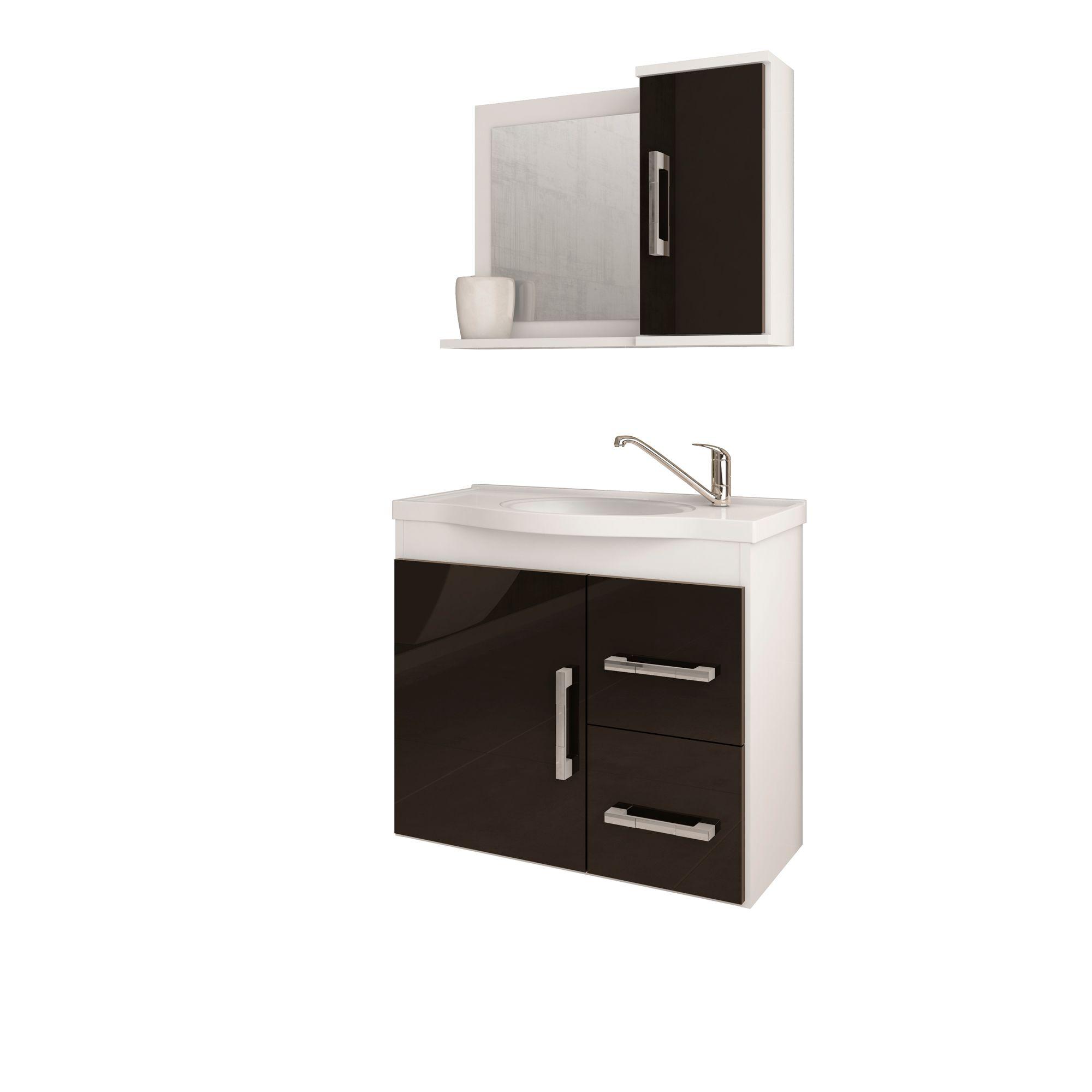 Gabinete Para Banheiro Vix 65 Cm Com  Espelho De Banheiro MGM Móveis Branco/Preto
