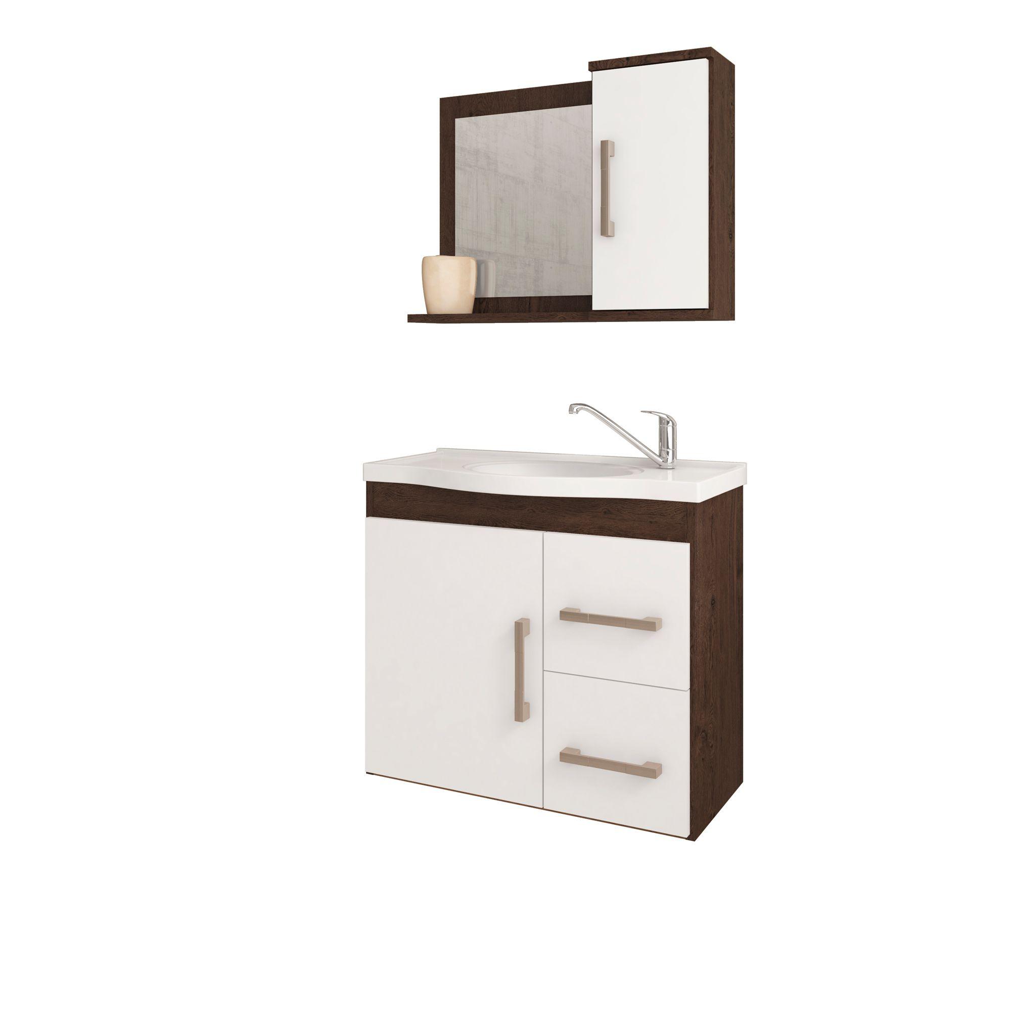 Gabinete Para Banheiro Vix 65 Cm Com  Espelho De Banheiro MGM Móveis Café/Branco