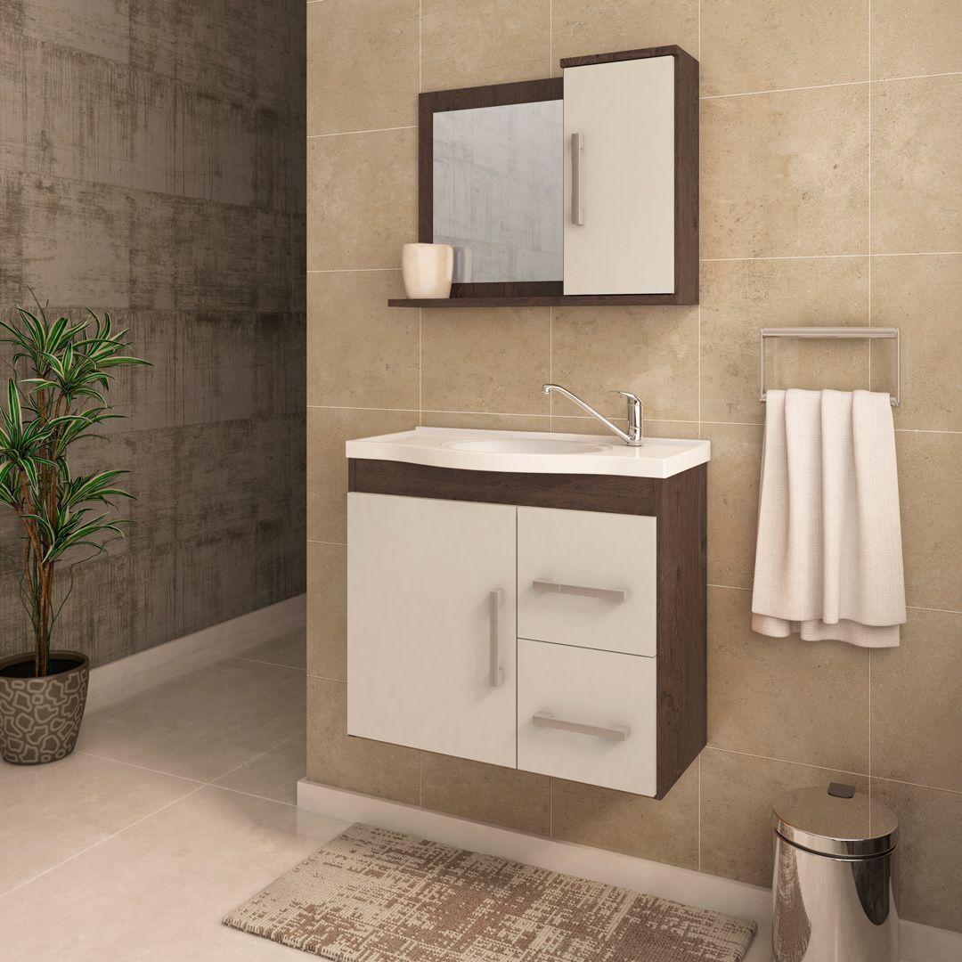 Gabinete Para Banheiro Vix 65 Cm Com  Espelho De Banheiro MGM Móveis Café/Off White