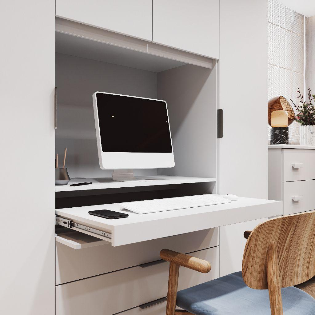 Guarda Roupa 4 Portas Home Office 3 Gavetas com Escrivaninha Móveis Rimo Freijo/Off White