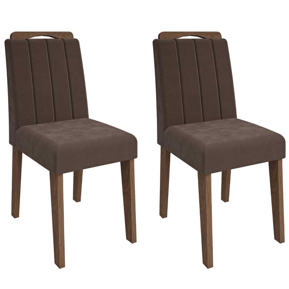 Cadeiras De MDF Para Sala De Jantar 02 Pçs ELisa Cimol Savana / Suede Chocolate FORA DE LINHA