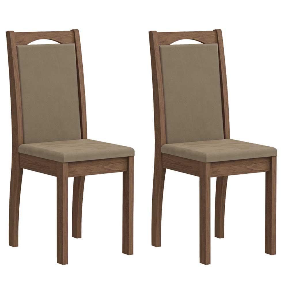 Conjunto 2 Cadeiras para Sala de Jantar 100% MDF Lívia Cimol Savana/Suede Marfim
