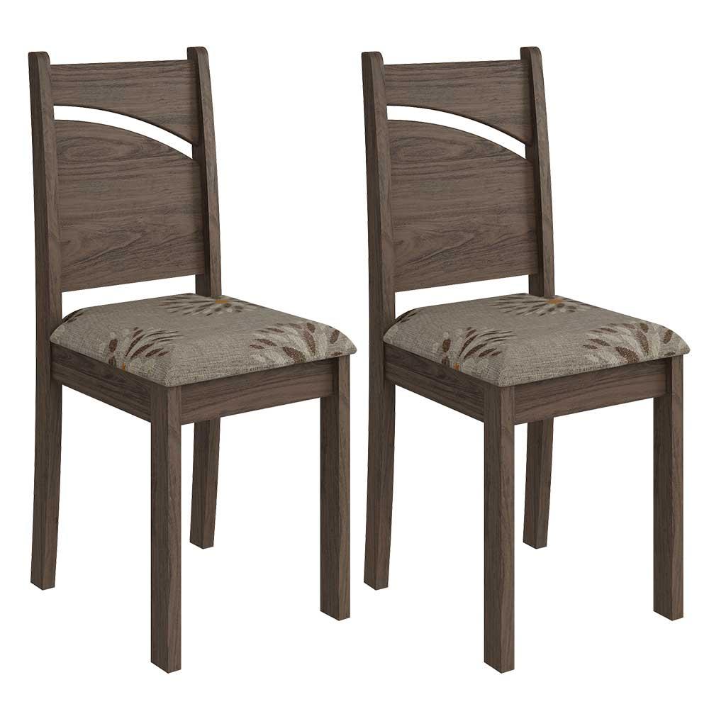 Cadeiras De MDF Para Sala De Jantar 02 Pçs MeLissa Cimol Marrocos / Jacquard Café - FORA DE LINHA