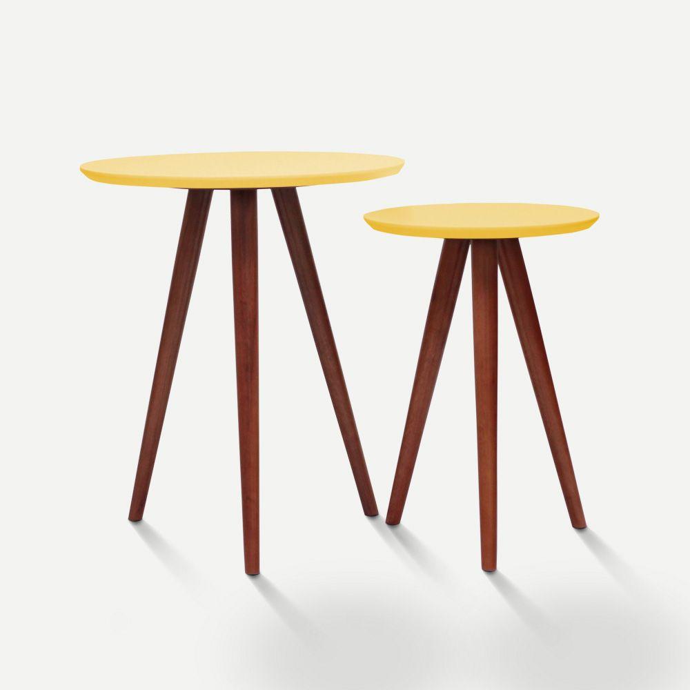 Mesa de Canto Amarelo Conjunto 02 Peças em Laca Modelo Palito Caixotin