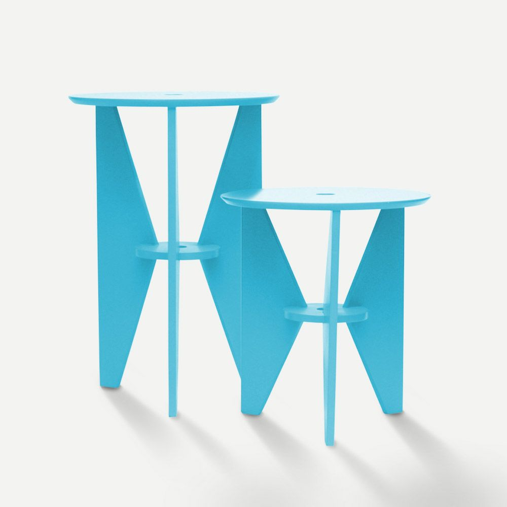 Mesa de Canto Azul Conjunto 02 Peças em Laca Design Assinado Modelo Gira Caixotin